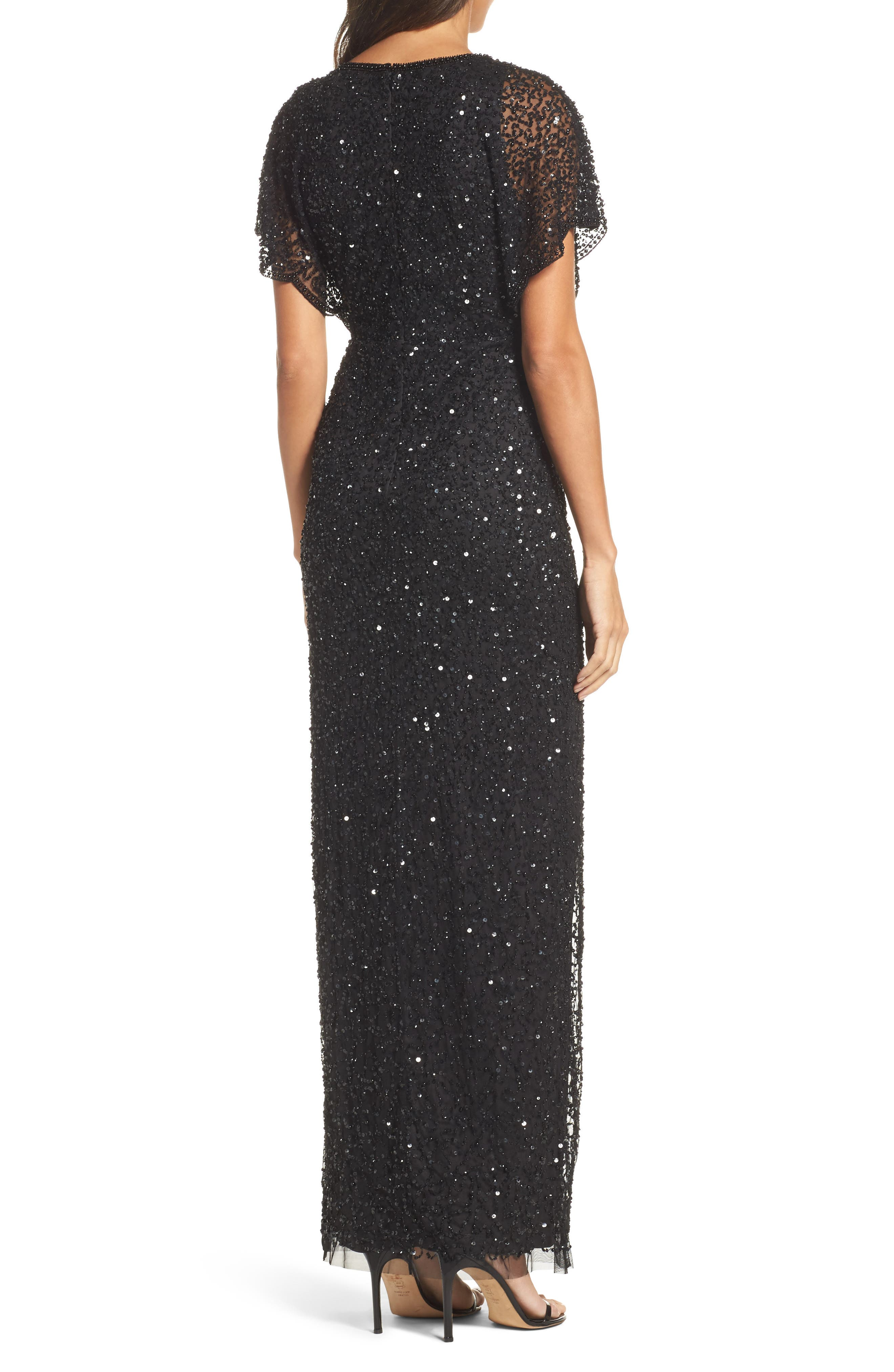 Alternate Image 2  - Adrianna Papell Beaded Flutter Sleeve Gown