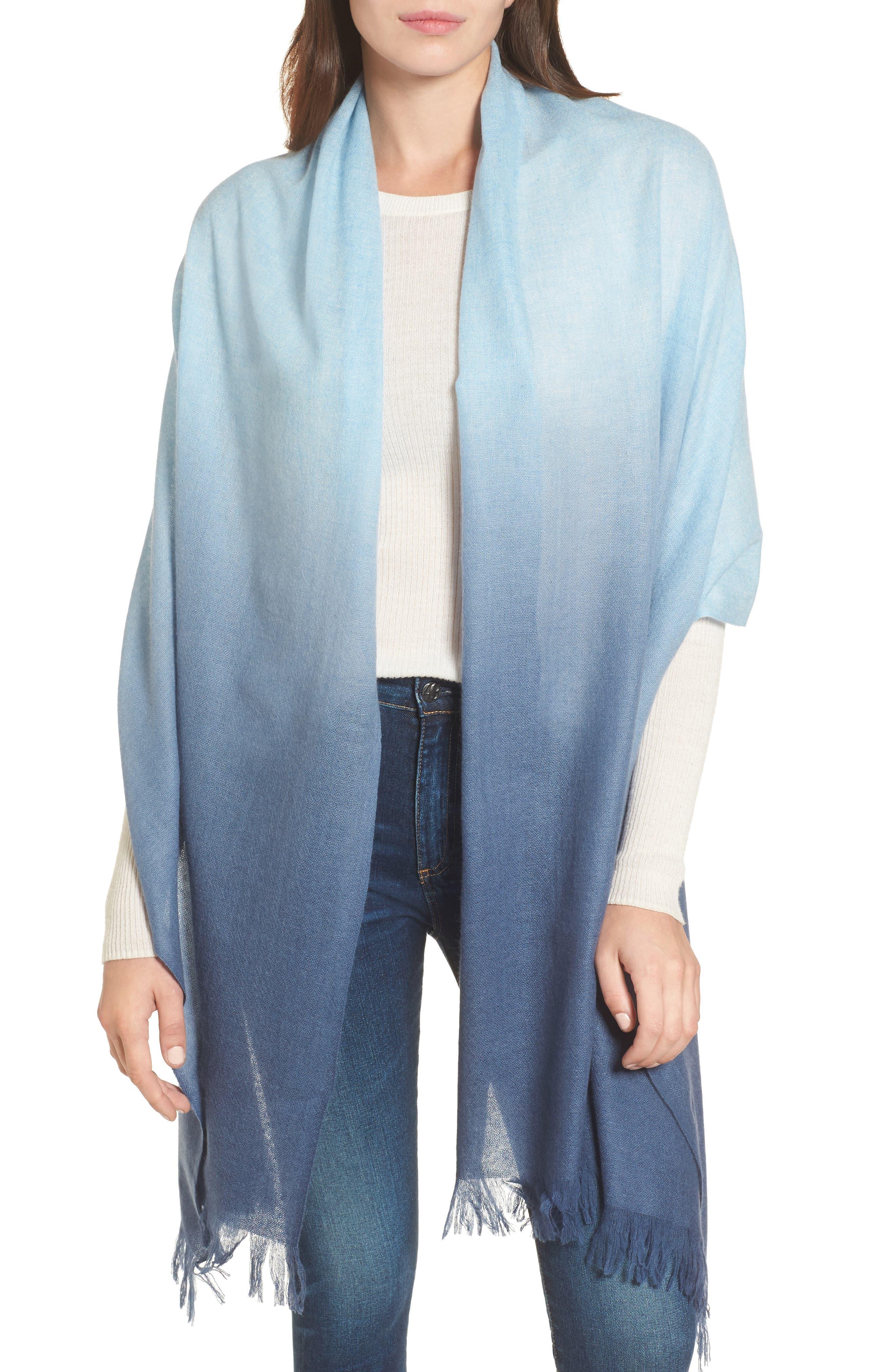 Caslon Dip Dye Cashmere Wrap,                             Main thumbnail 1, color,                             Blue Combo