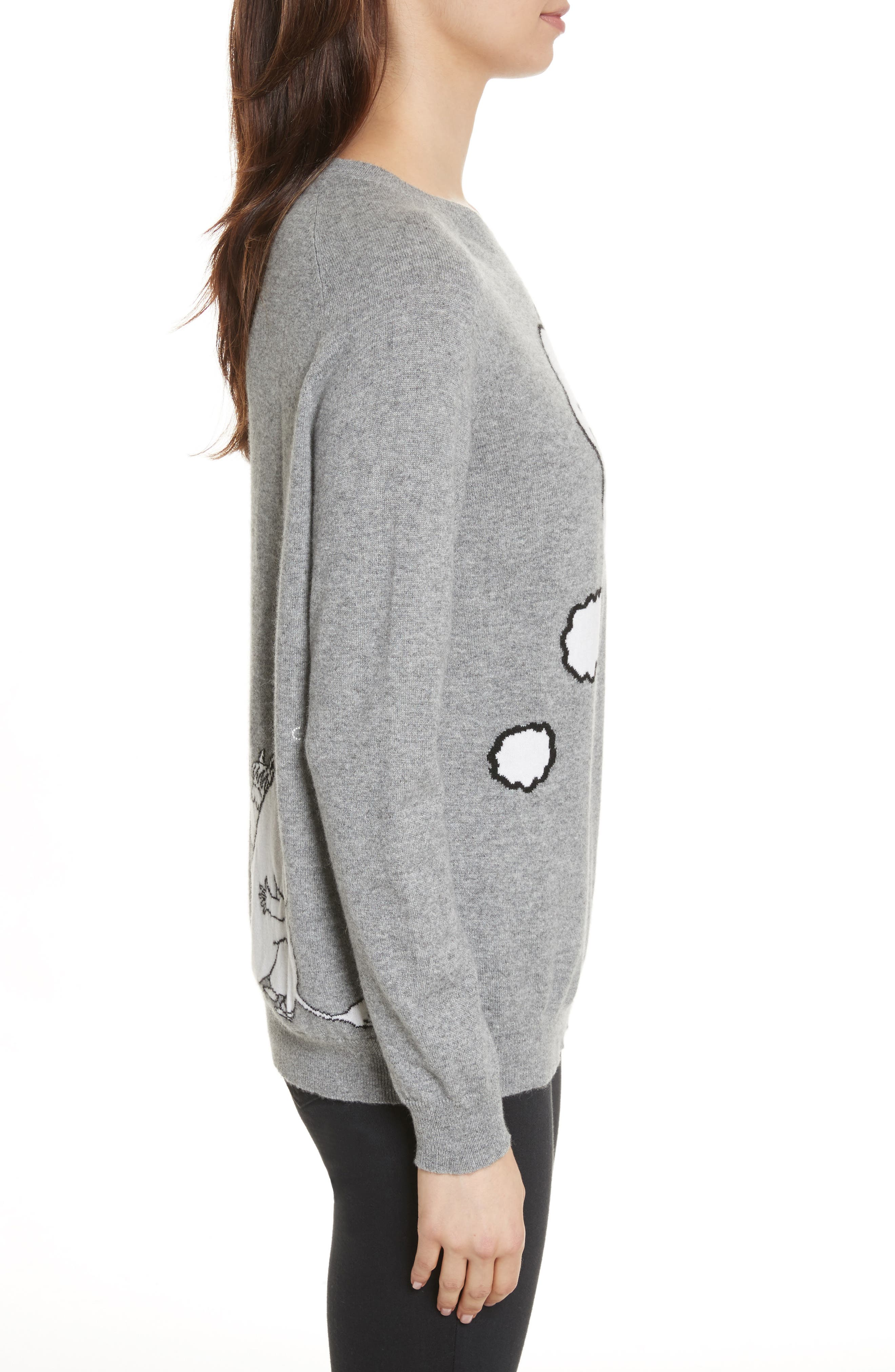 CHINTI & PARKER Just Imagine Moomin Cashmere Sweater,                             Alternate thumbnail 3, color,                             Grey