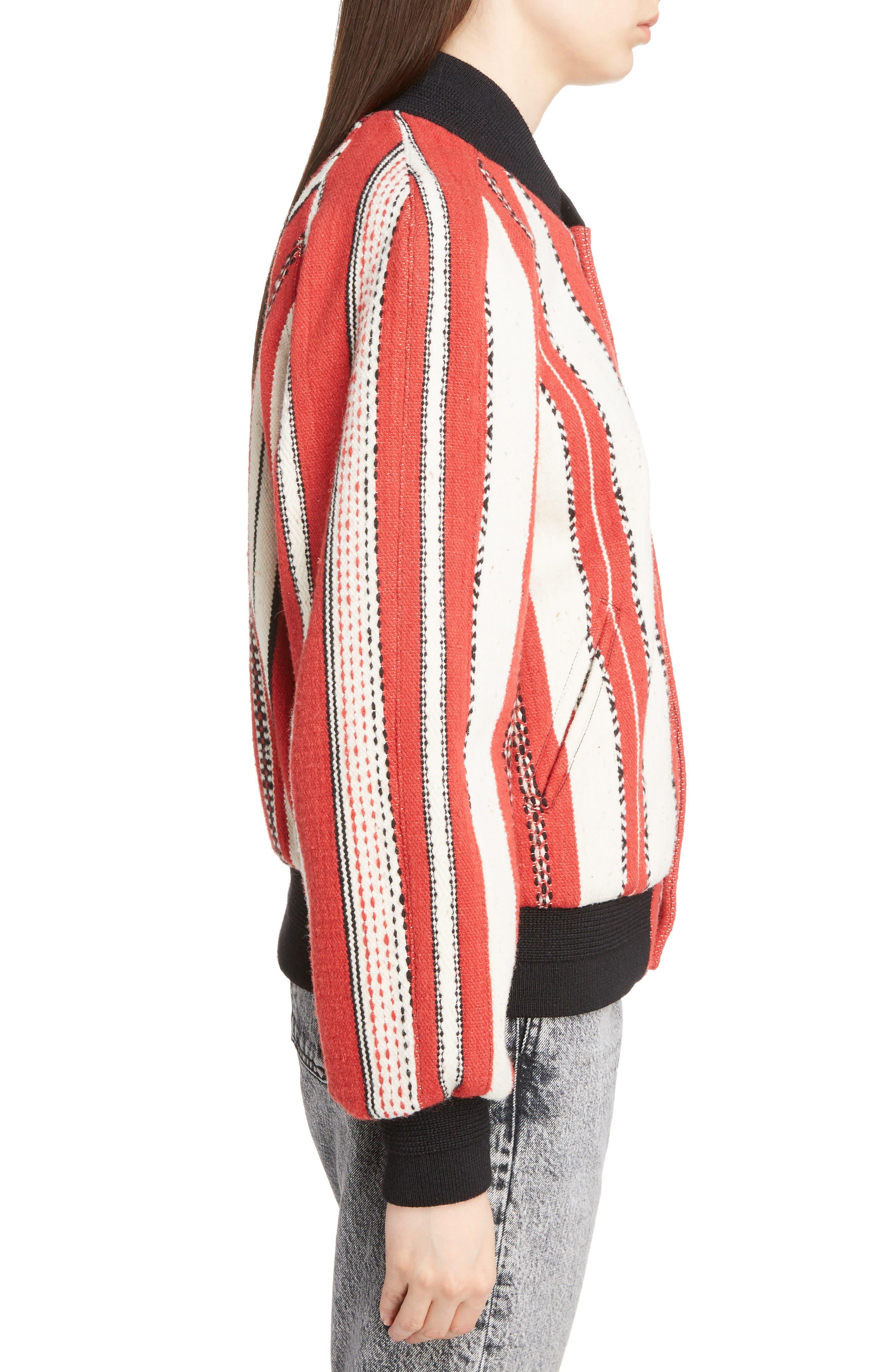Tapestry Wool Blend Teddy Jacket,                             Alternate thumbnail 3, color,                             Rouge Craie Noir