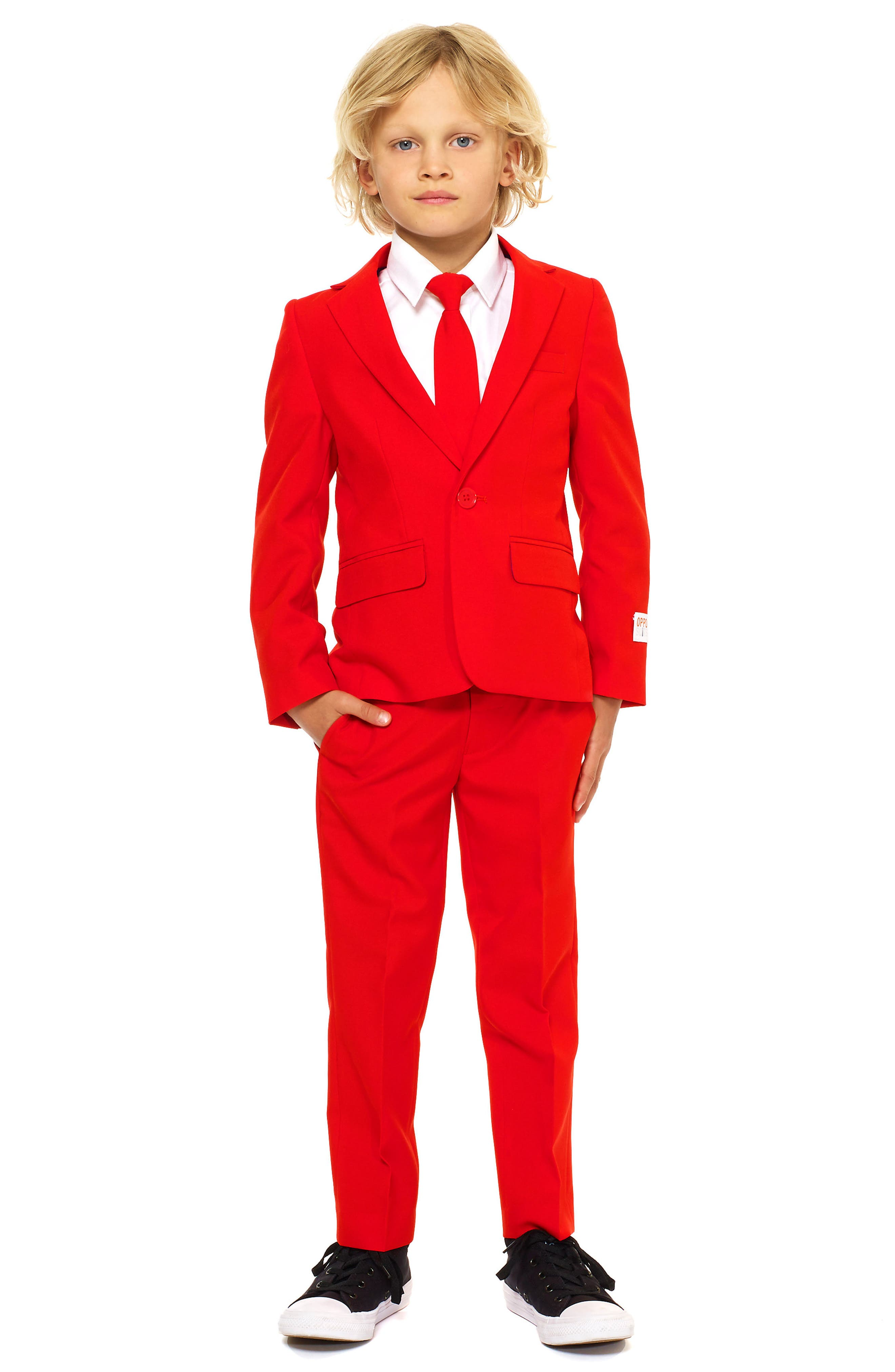 Oppo Red Devil Two-Piece Suit with Tie,                             Main thumbnail 1, color,                             Red