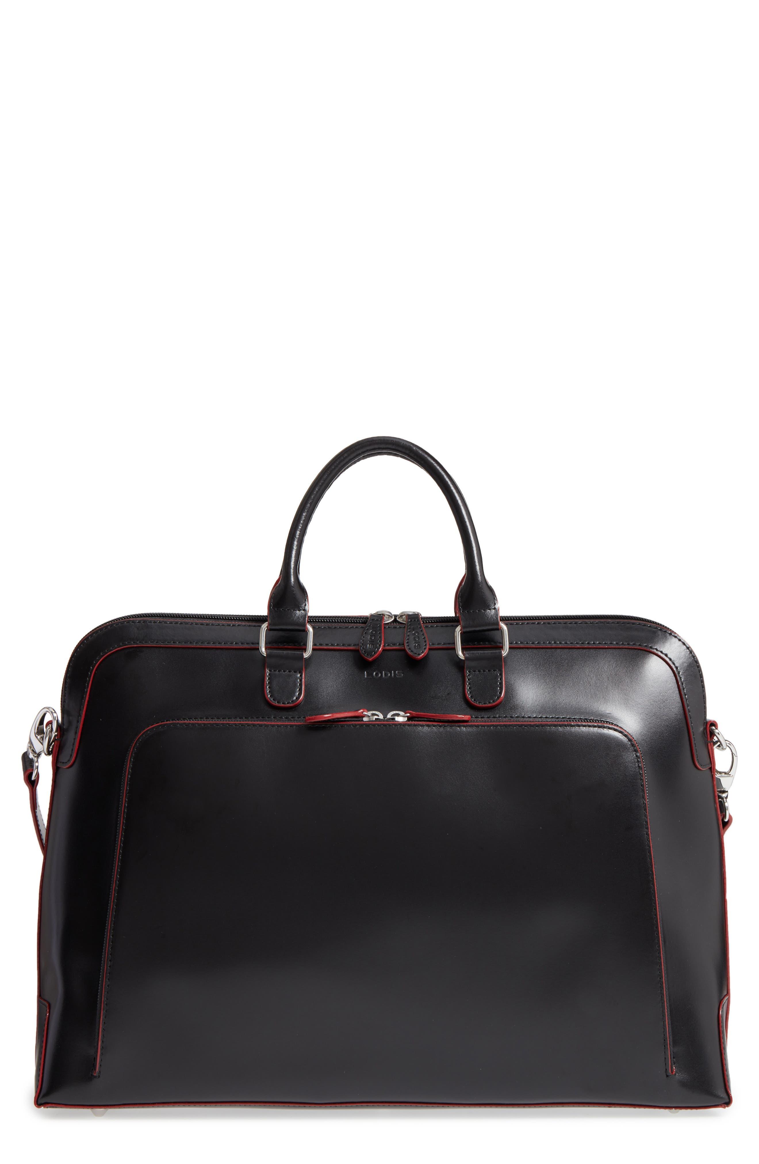 Audrey Under Lock & Key - Brera RFID Leather Briefcase,                             Main thumbnail 1, color,                             Black
