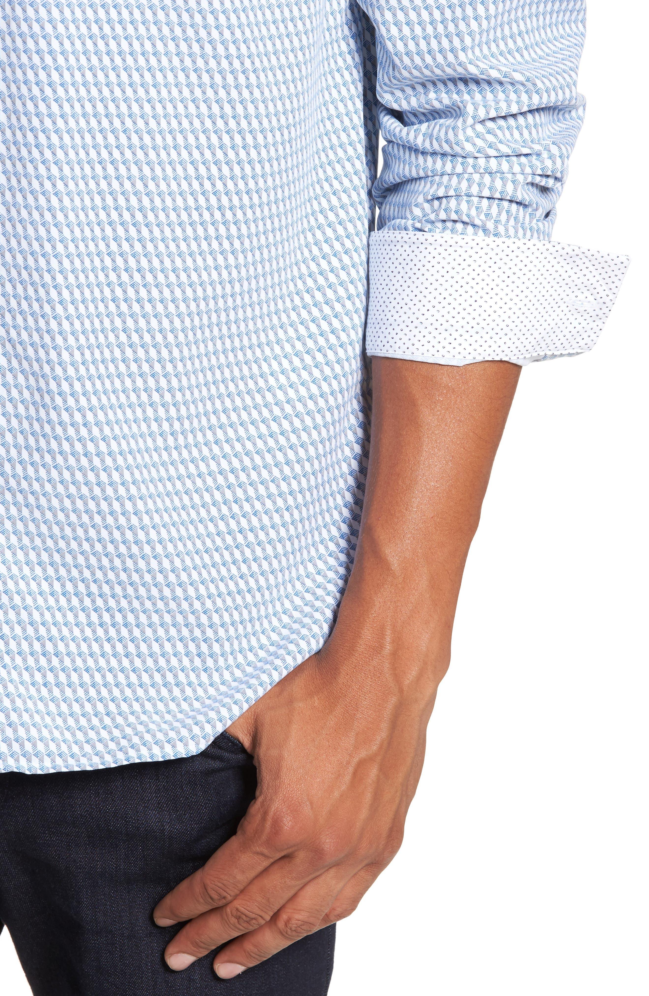 Wyne Slim Fit Polynosic Geo Print Sport Shirt,                             Alternate thumbnail 4, color,                             White