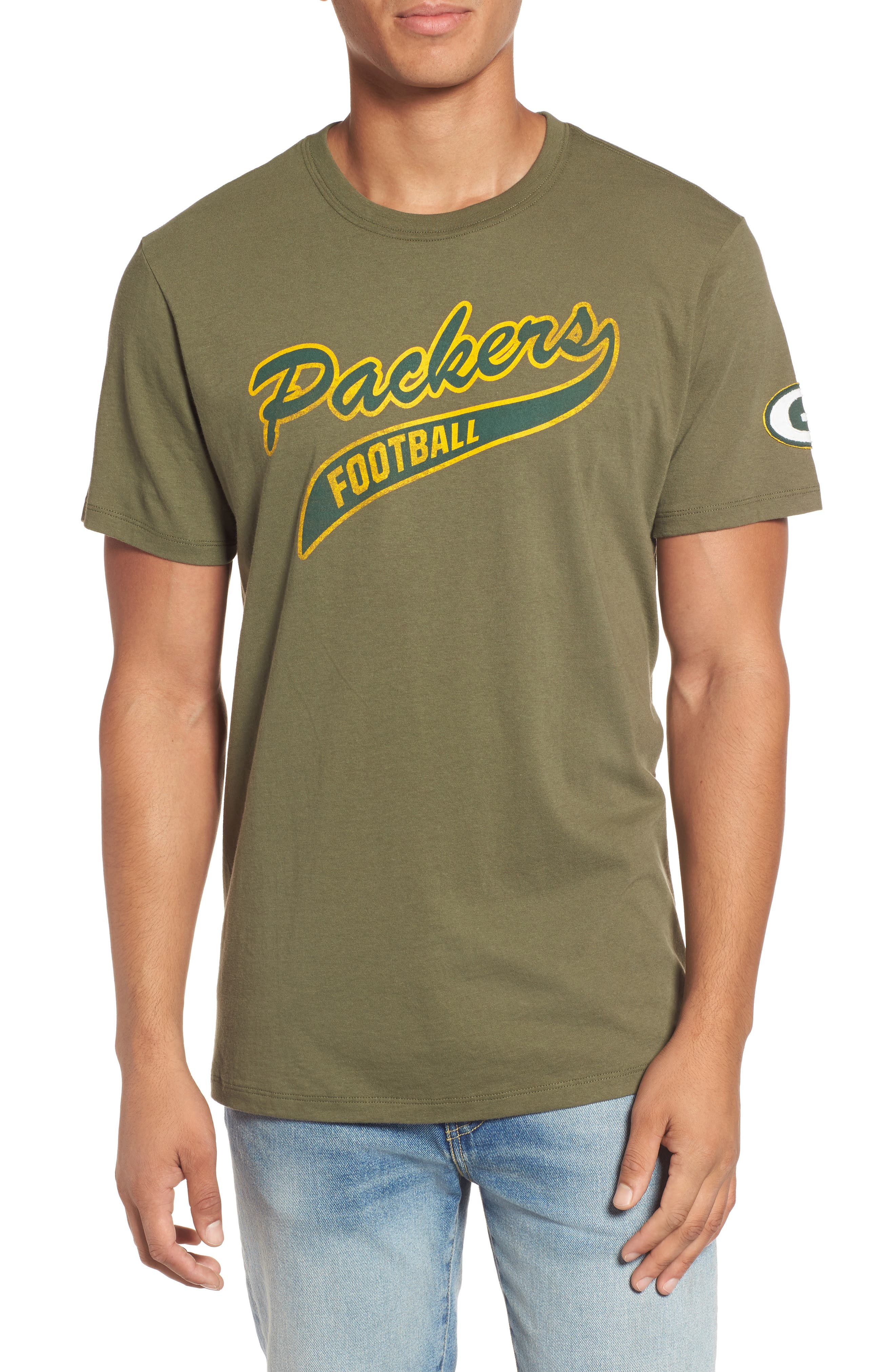 Green Bay Packers Borderland T-Shirt,                         Main,                         color, Bright Green