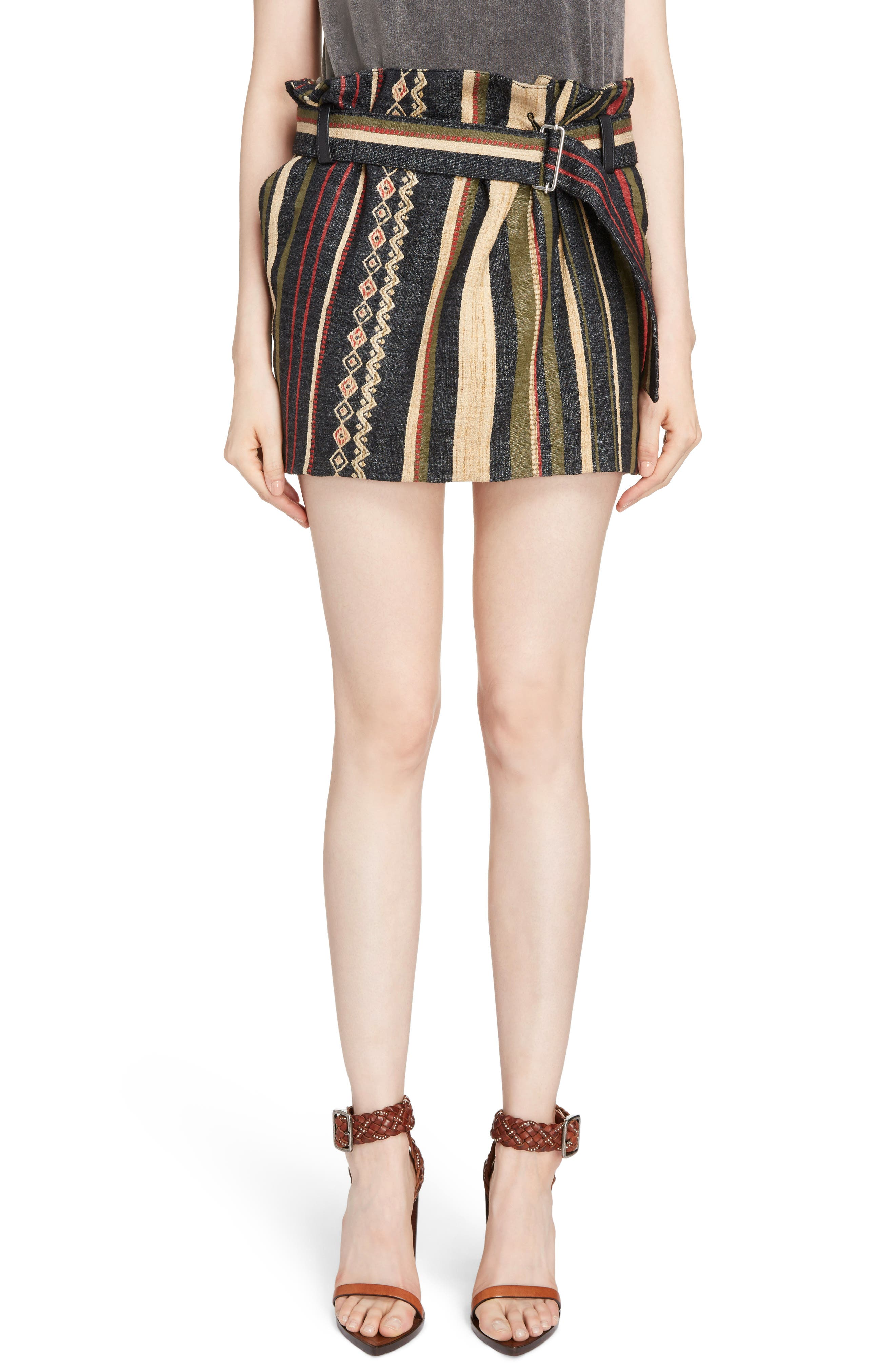 Saint Laurent Paperbag Waist Silk & Linen Blend Skirt