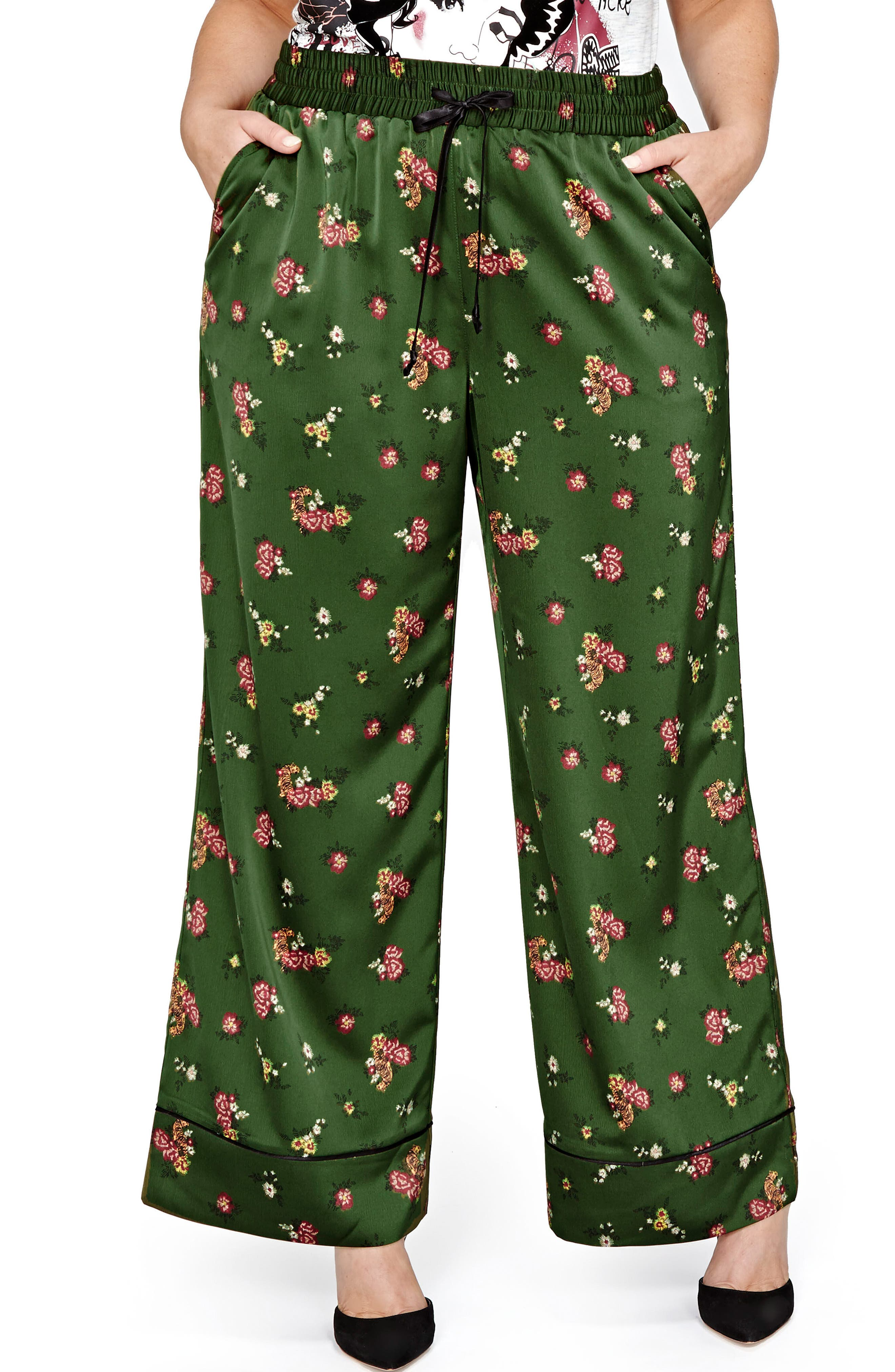 Jordyn Woods Wide-Leg Satin Pants,                             Main thumbnail 1, color,                             Deep Khaki Floral Aop