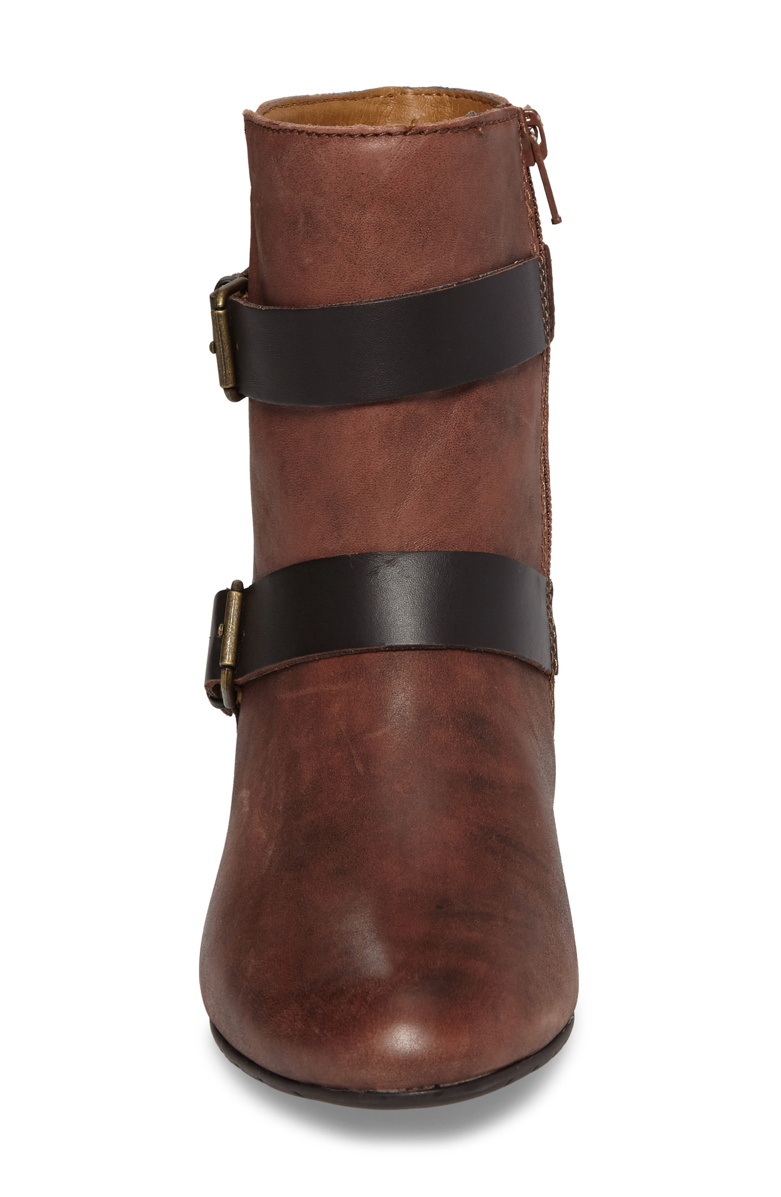 Ramika Wedge Bootie,                             Alternate thumbnail 4, color,                             Mahogany Leather