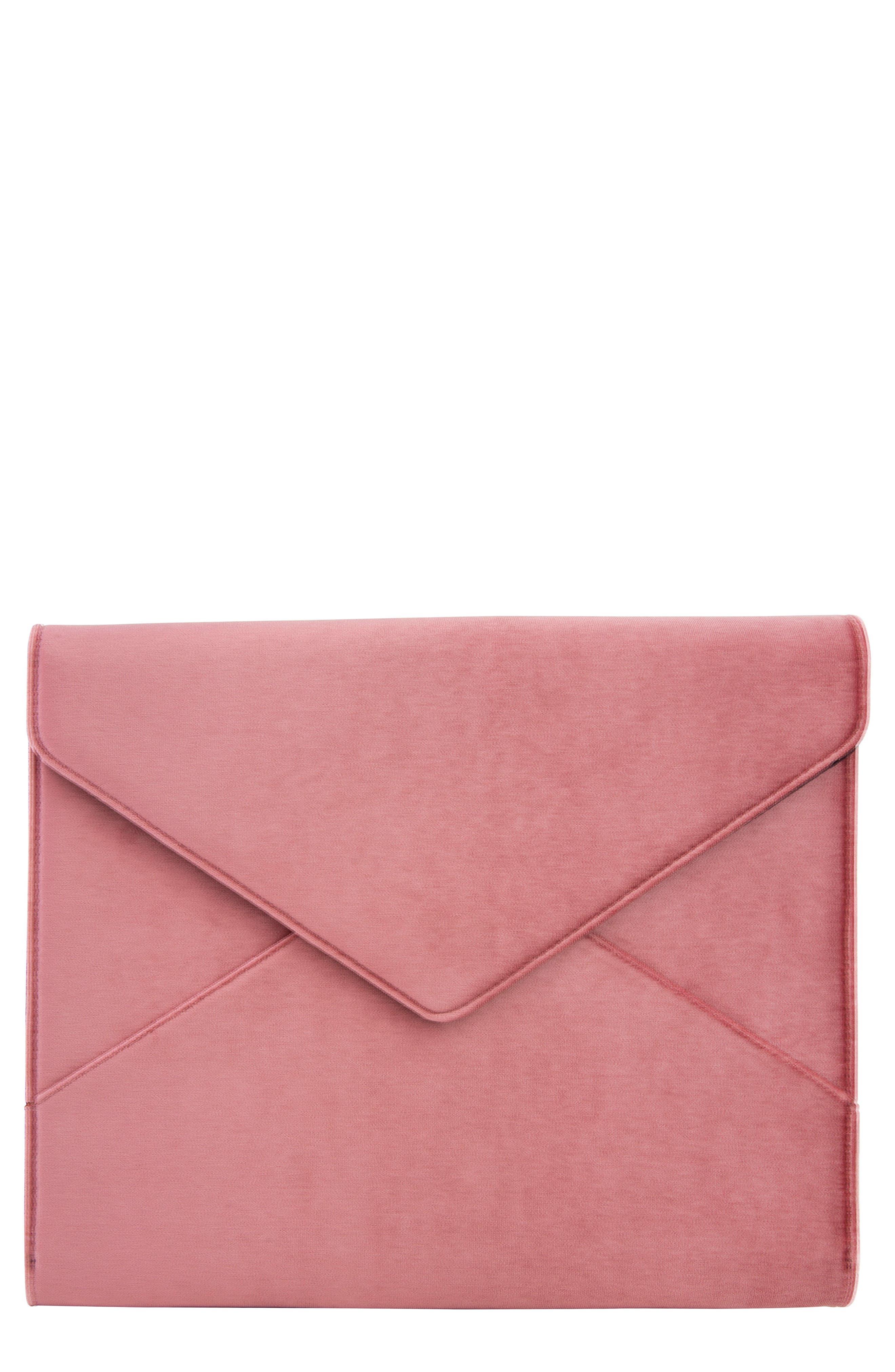 Rose Velvet Laptop Clutch - Pink