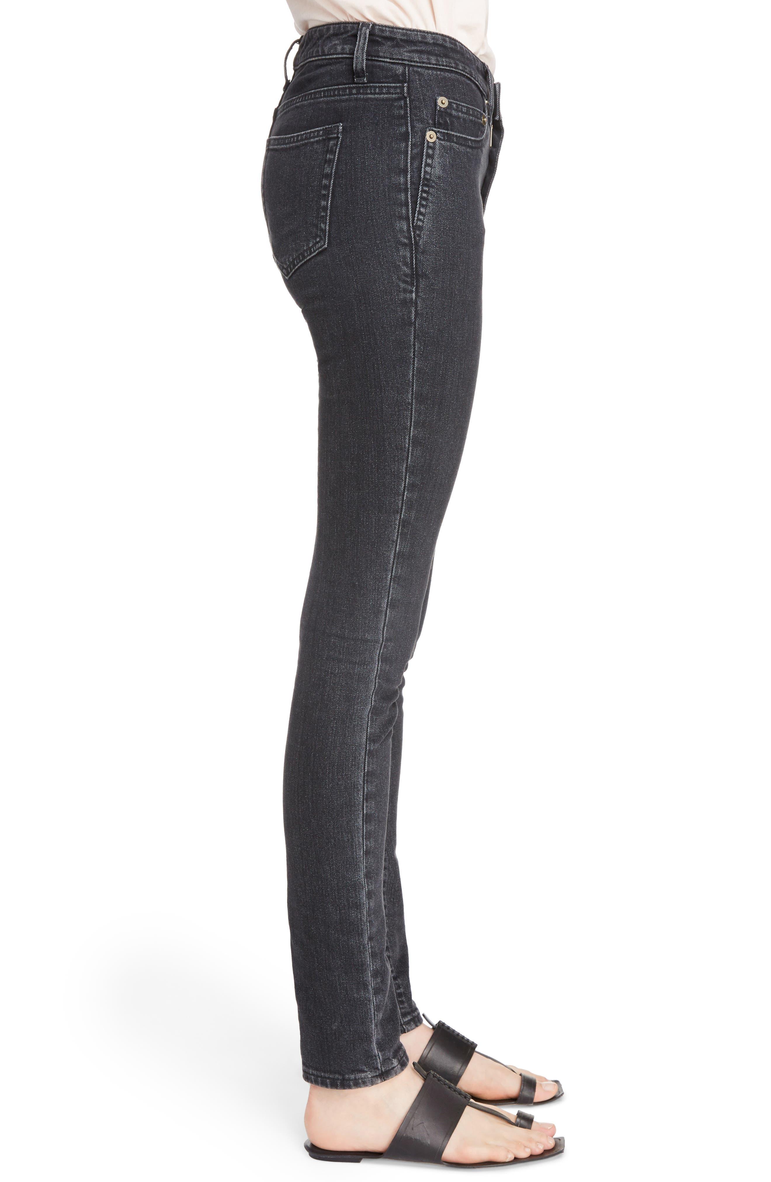 Skinny Stretch Jeans,                             Alternate thumbnail 3, color,                             Black Stonewash
