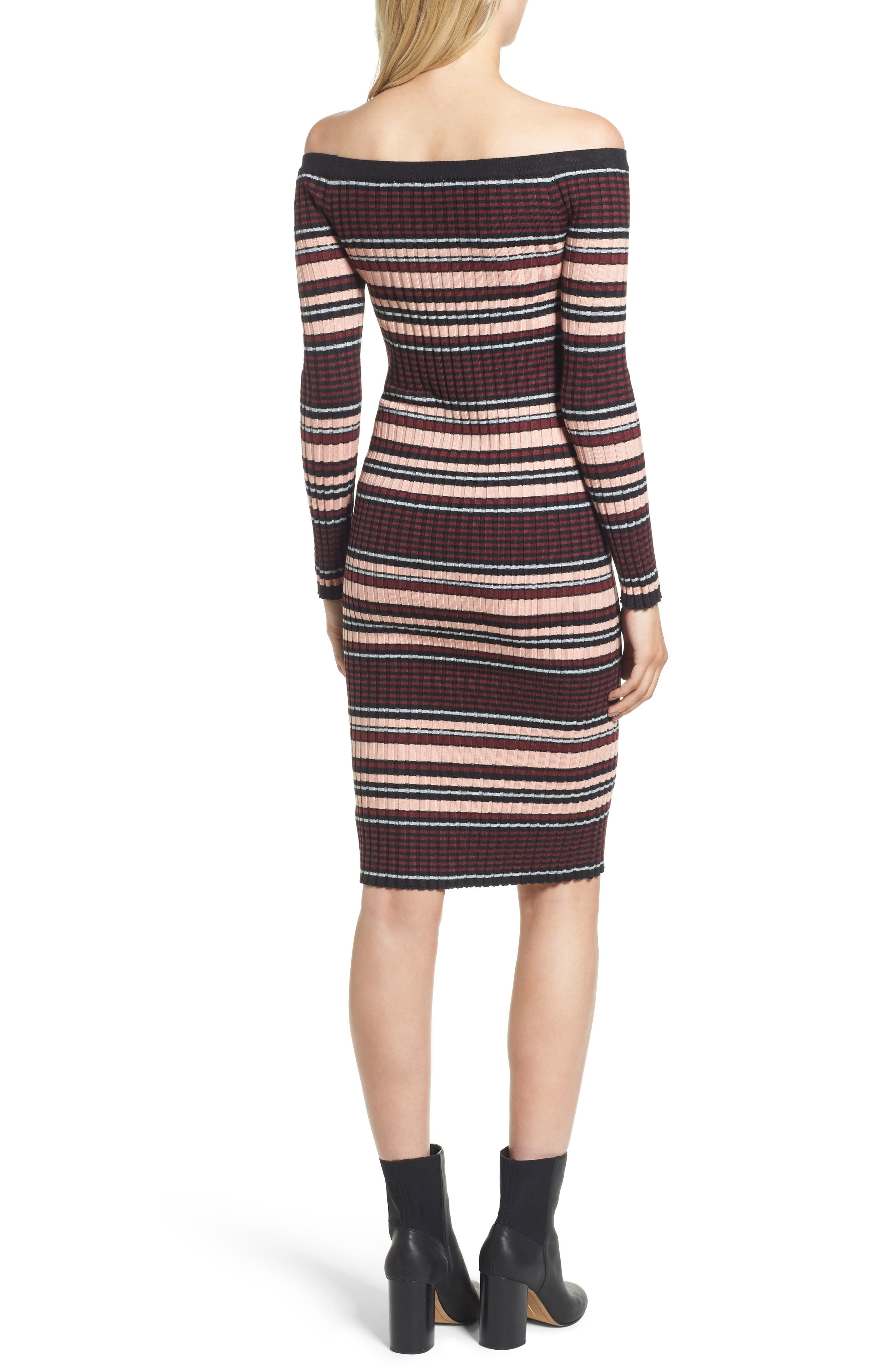 Tommy Off the Shoulder Body-Con Dress,                             Alternate thumbnail 2, color,                             Black