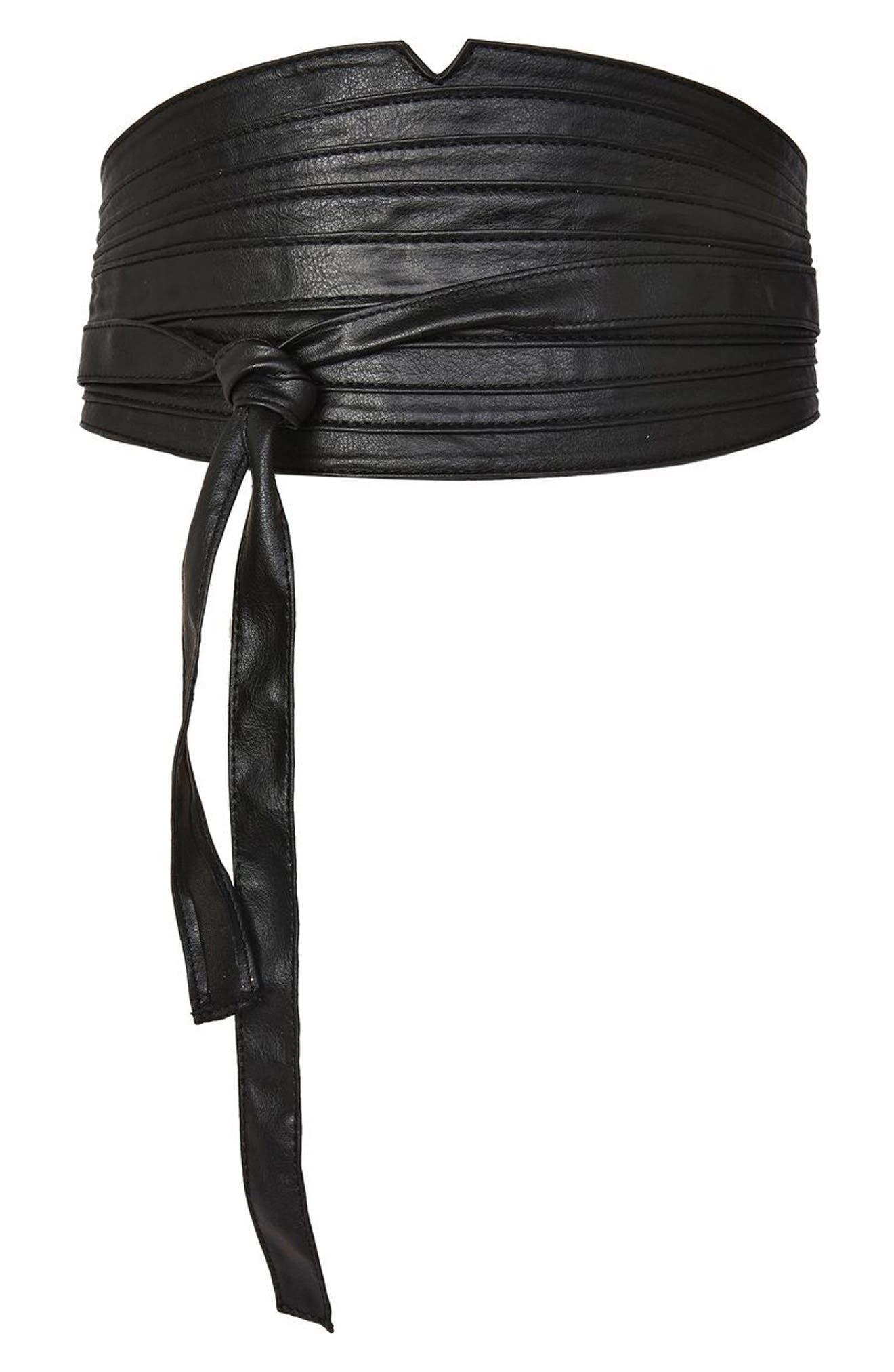 Topshop Faux Leather Obi Wrap Belt