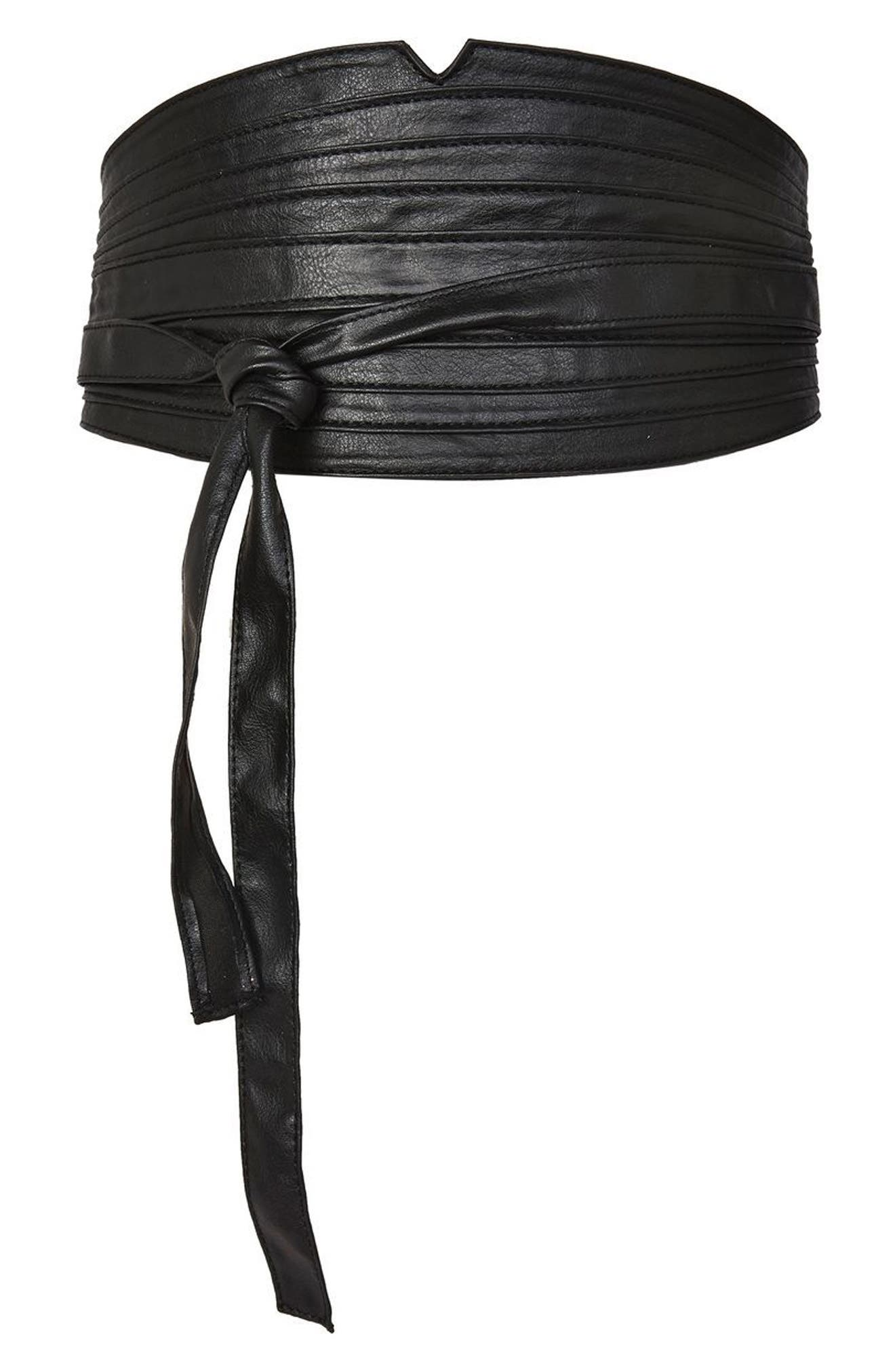 Topshop Faux Leather Obi Wrap Belt