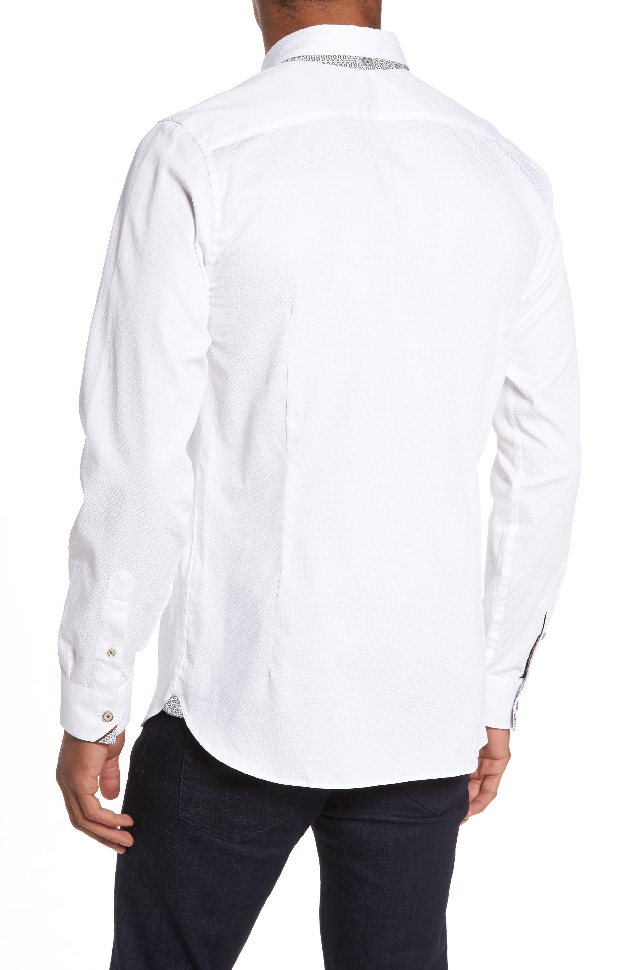 Strazbo Tonal Print Sport Shirt,                             Alternate thumbnail 2, color,                             White