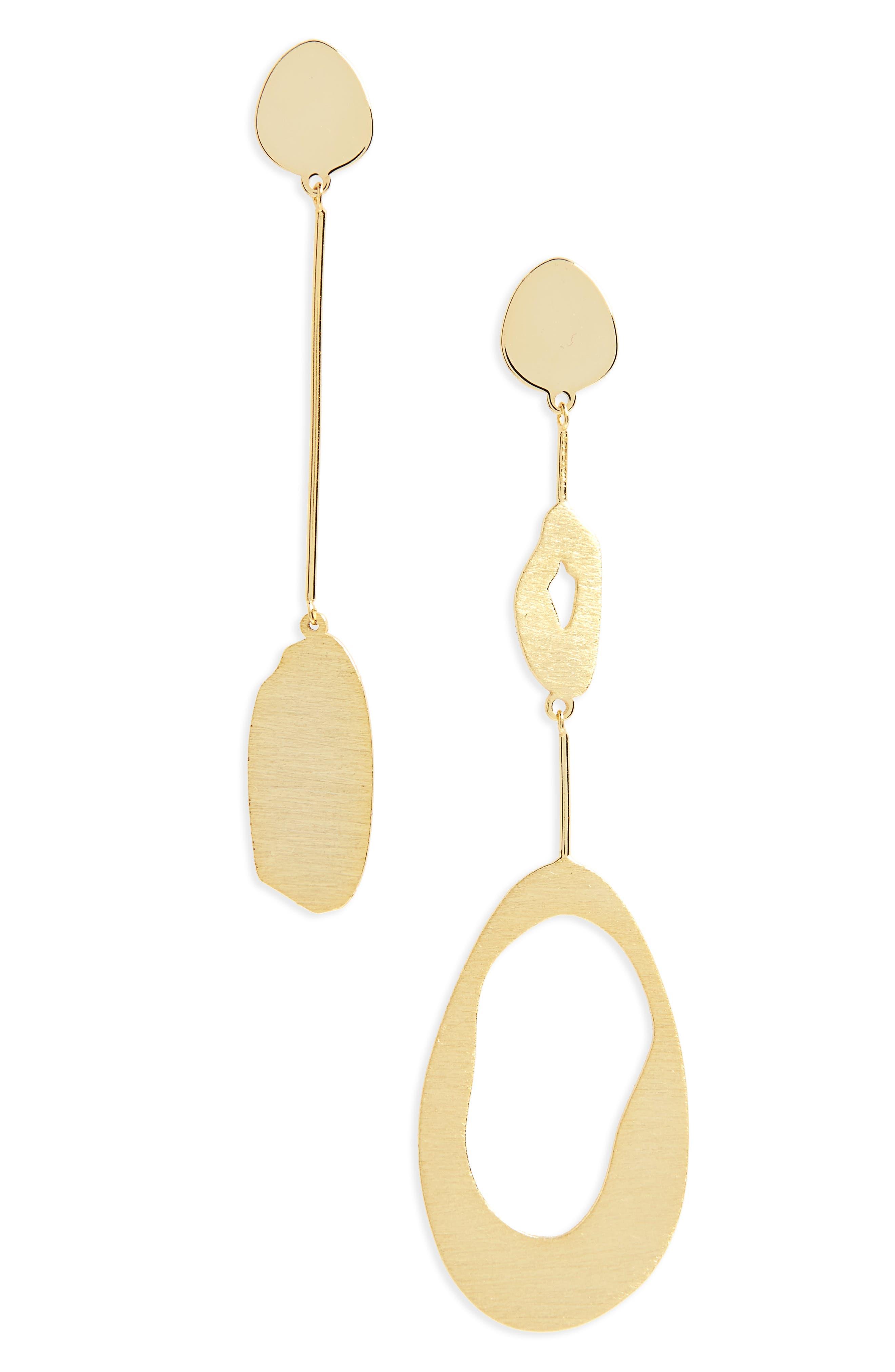 Argento Vivo Modern Organic Asymmetrical Drop Earrings