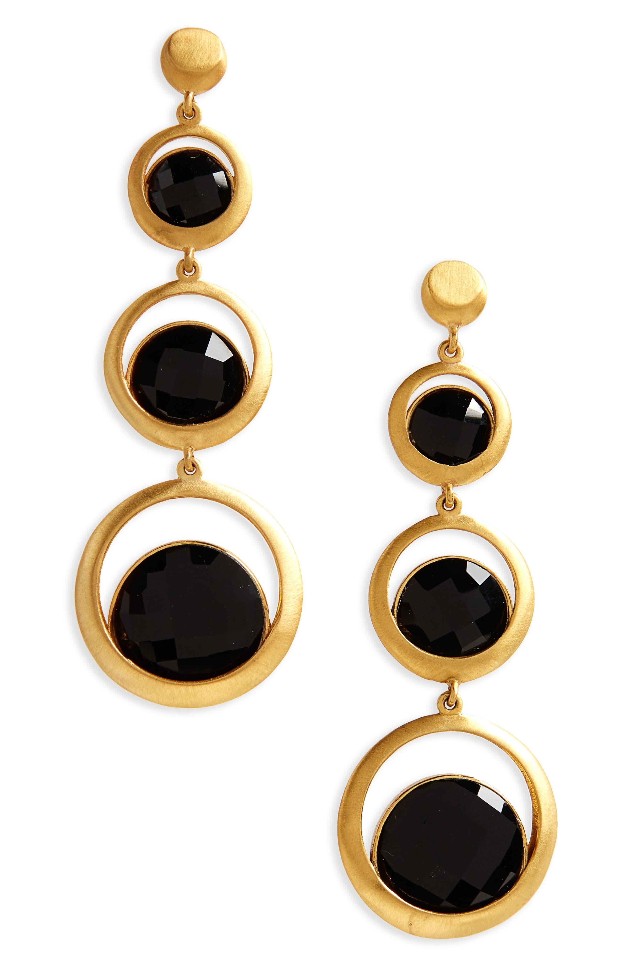 Triple Semiprecious Stone Drop Earrings,                             Main thumbnail 1, color,                             Black Onyx/ Gold