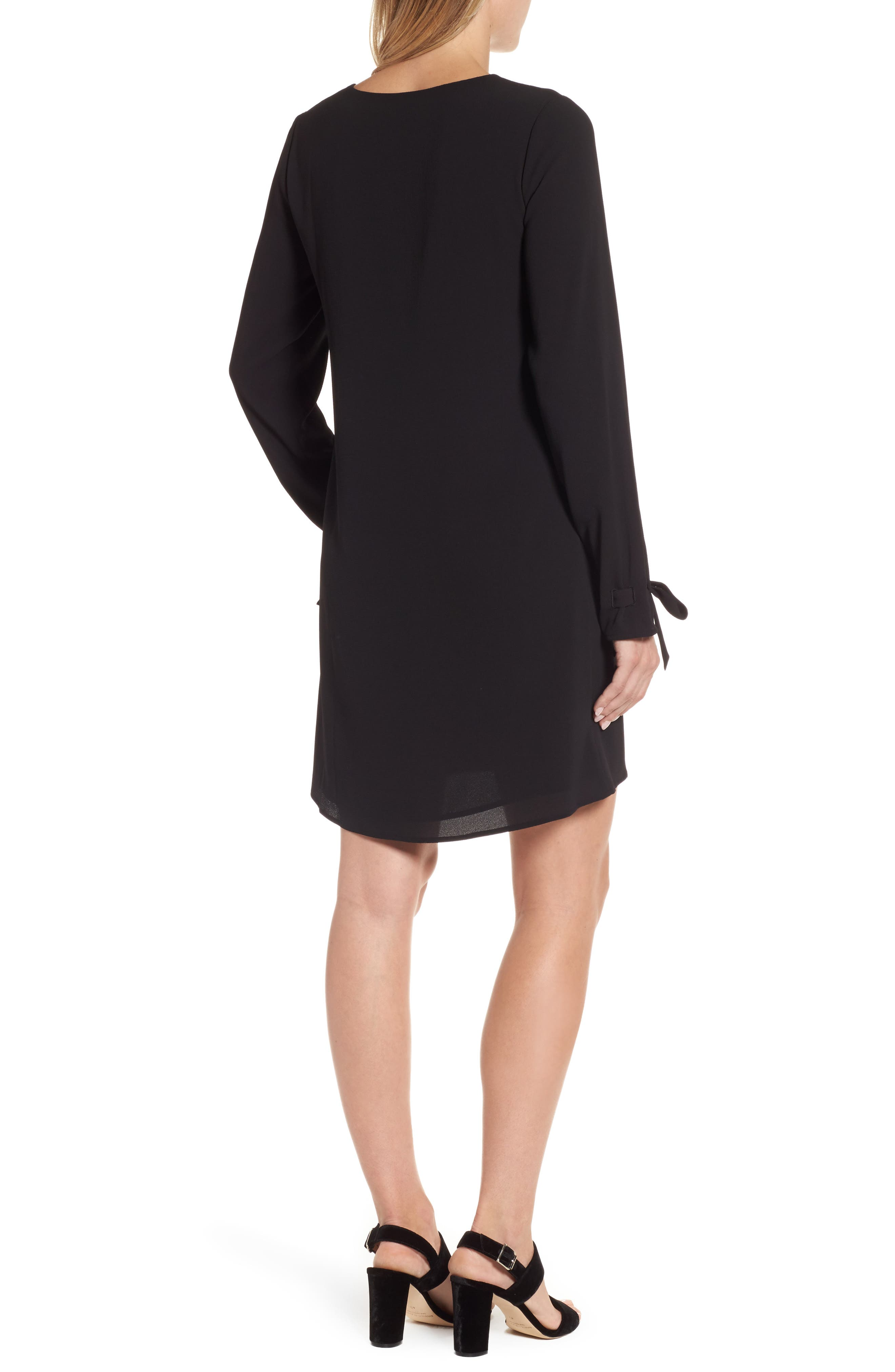 Lace-Up Shift Dress,                             Alternate thumbnail 2, color,                             Black