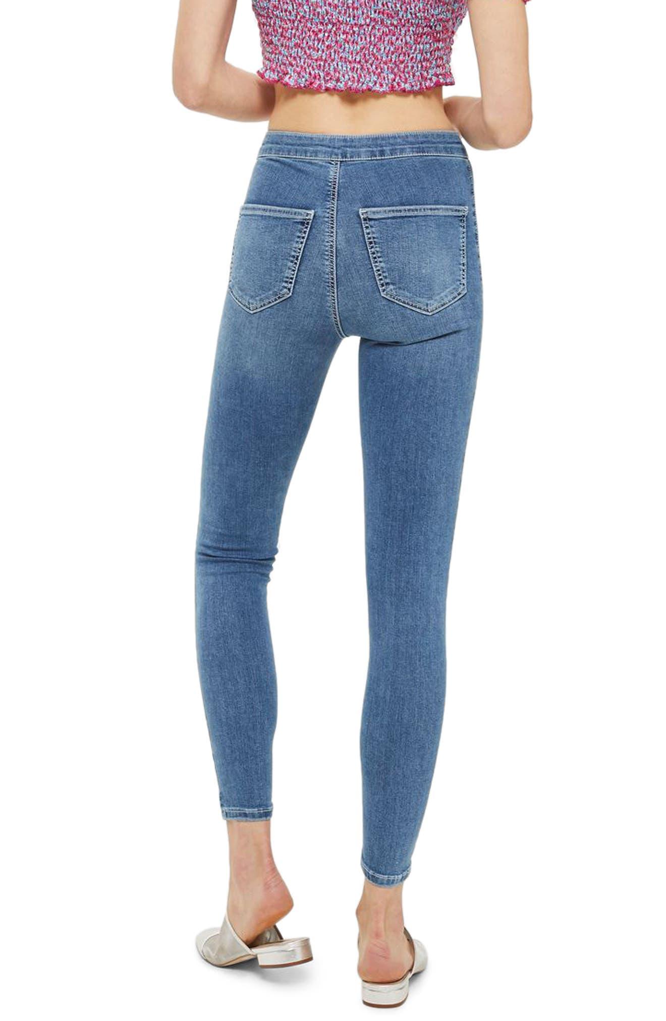 Joni Contrast Stitch High Rise Skinny Jeans,                             Alternate thumbnail 2, color,                             Mid Denim