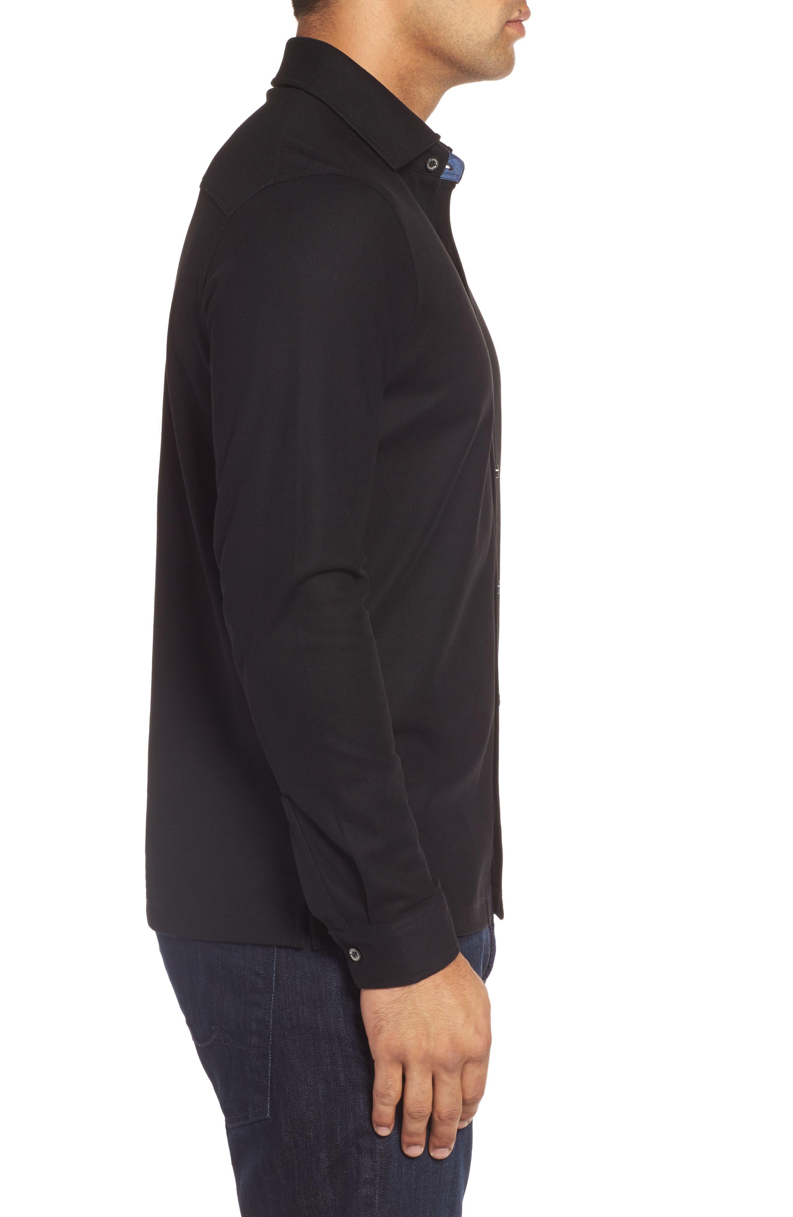 Classic Fit Piqué Knit Shirt,                             Alternate thumbnail 3, color,                             Black