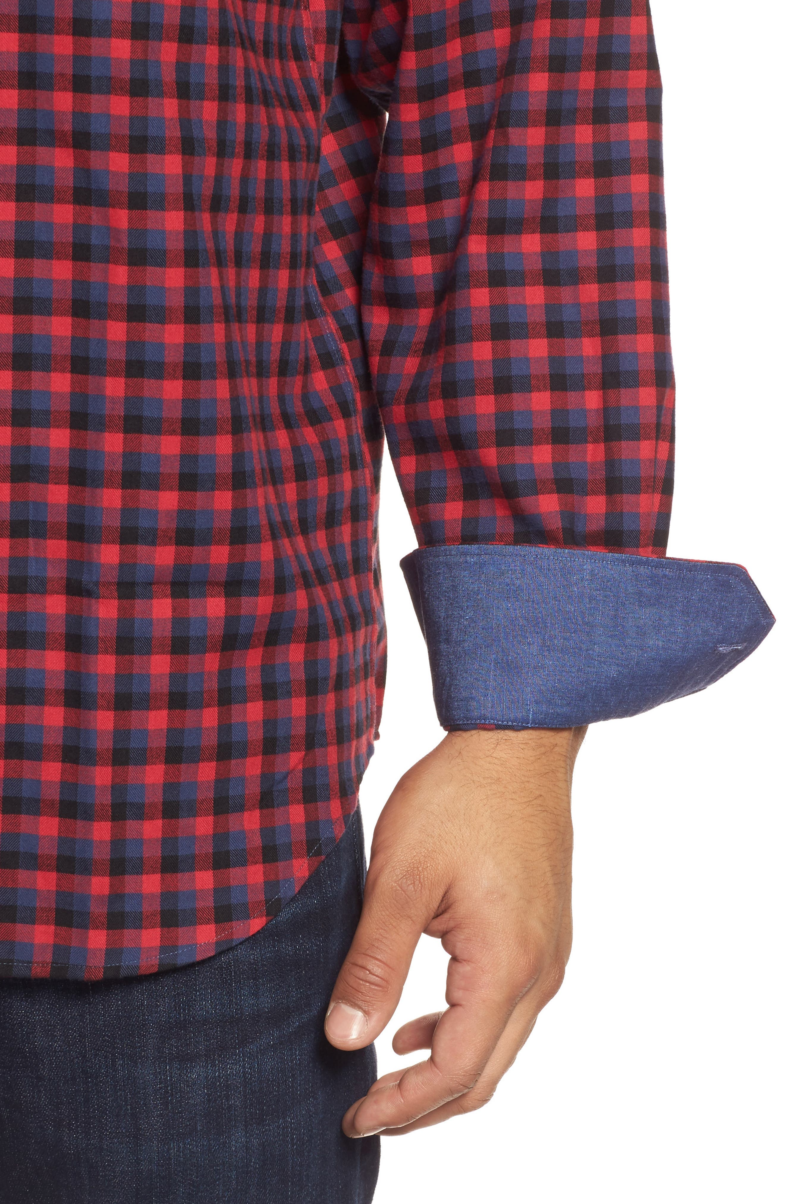 Classic Fit Buffalo Check Flannel Sport Shirt,                             Alternate thumbnail 4, color,                             Ruby