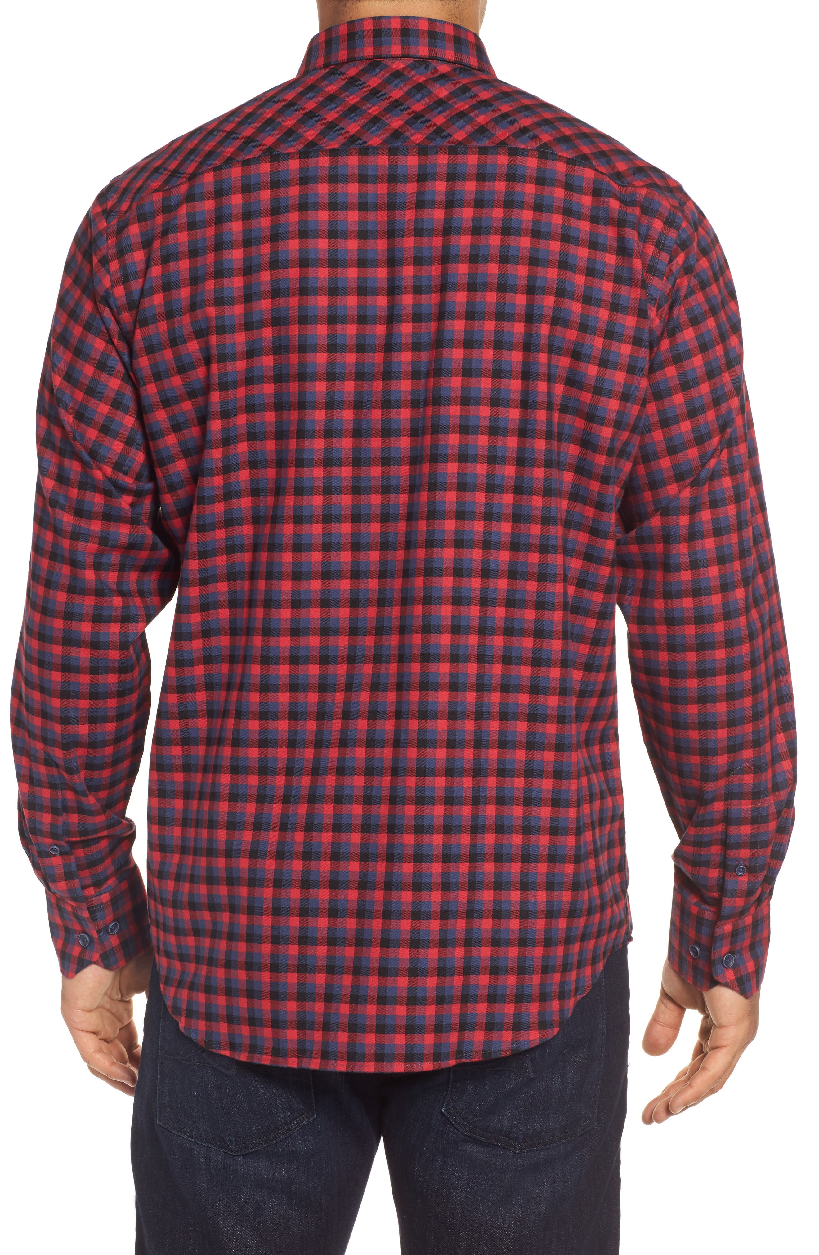 Classic Fit Buffalo Check Flannel Sport Shirt,                             Alternate thumbnail 2, color,                             Ruby