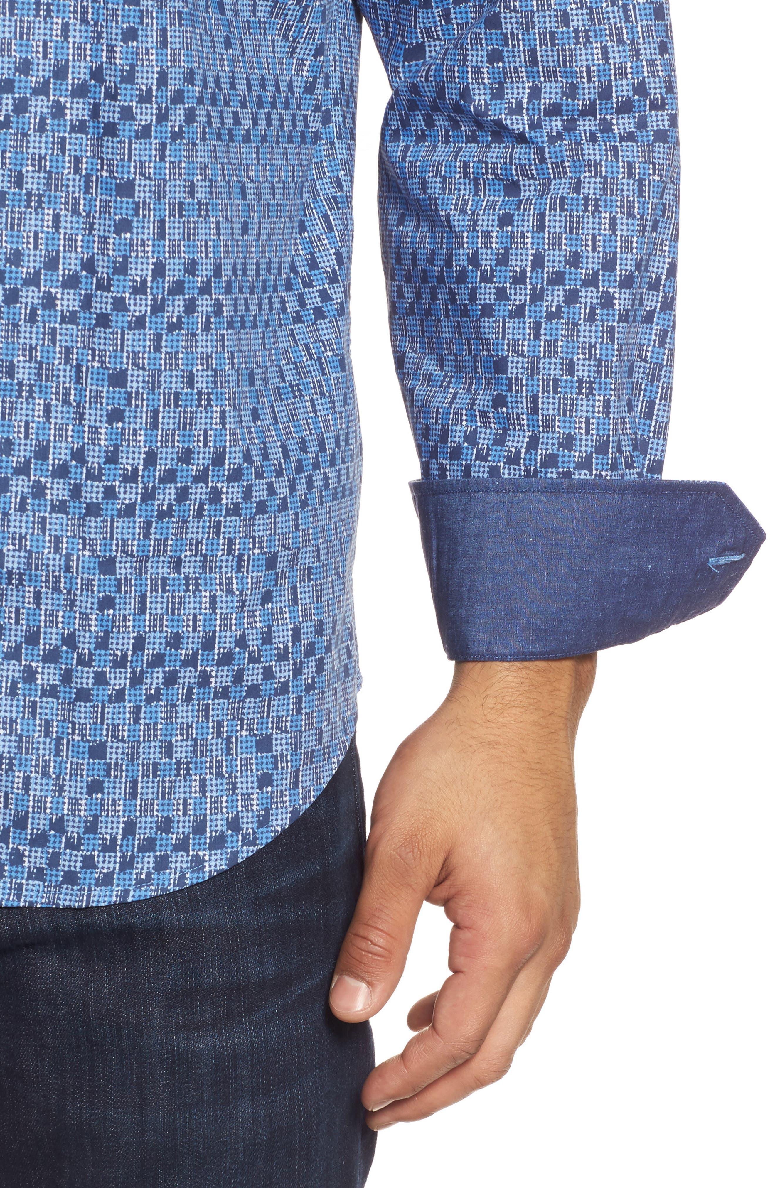 Classic Fit Pattern Sport Shirt,                             Alternate thumbnail 4, color,                             Navy