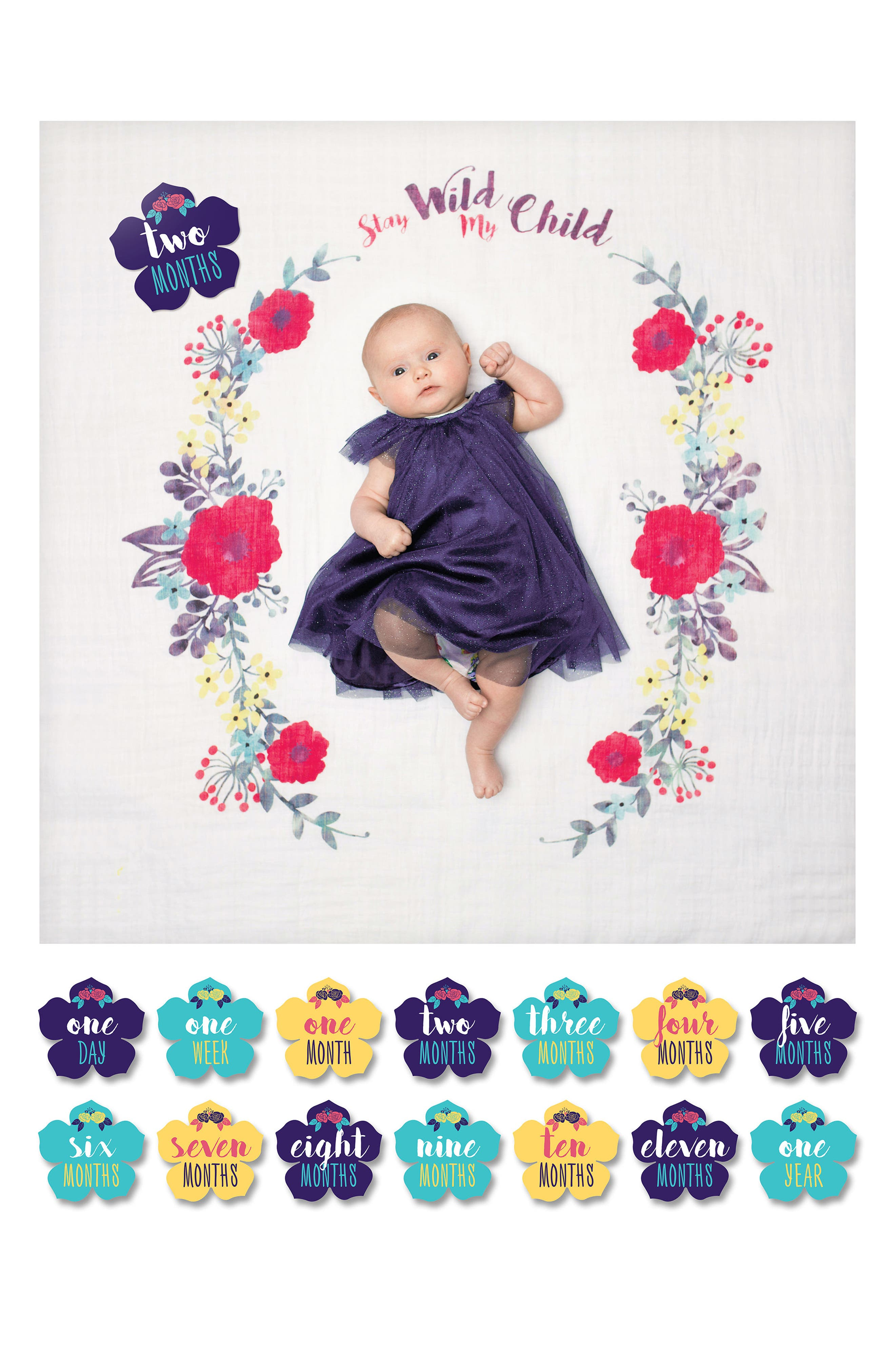 Baby's First Year - Stay Wild My Child Muslin Blanket & Milestone Card Set,                             Alternate thumbnail 2, color,                             Wild My Child