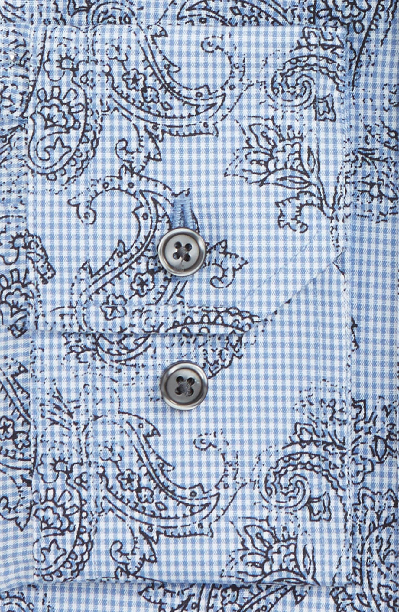Trim Fit Paisley Plaid Dress Shirt,                             Alternate thumbnail 2, color,                             Blue Yonder