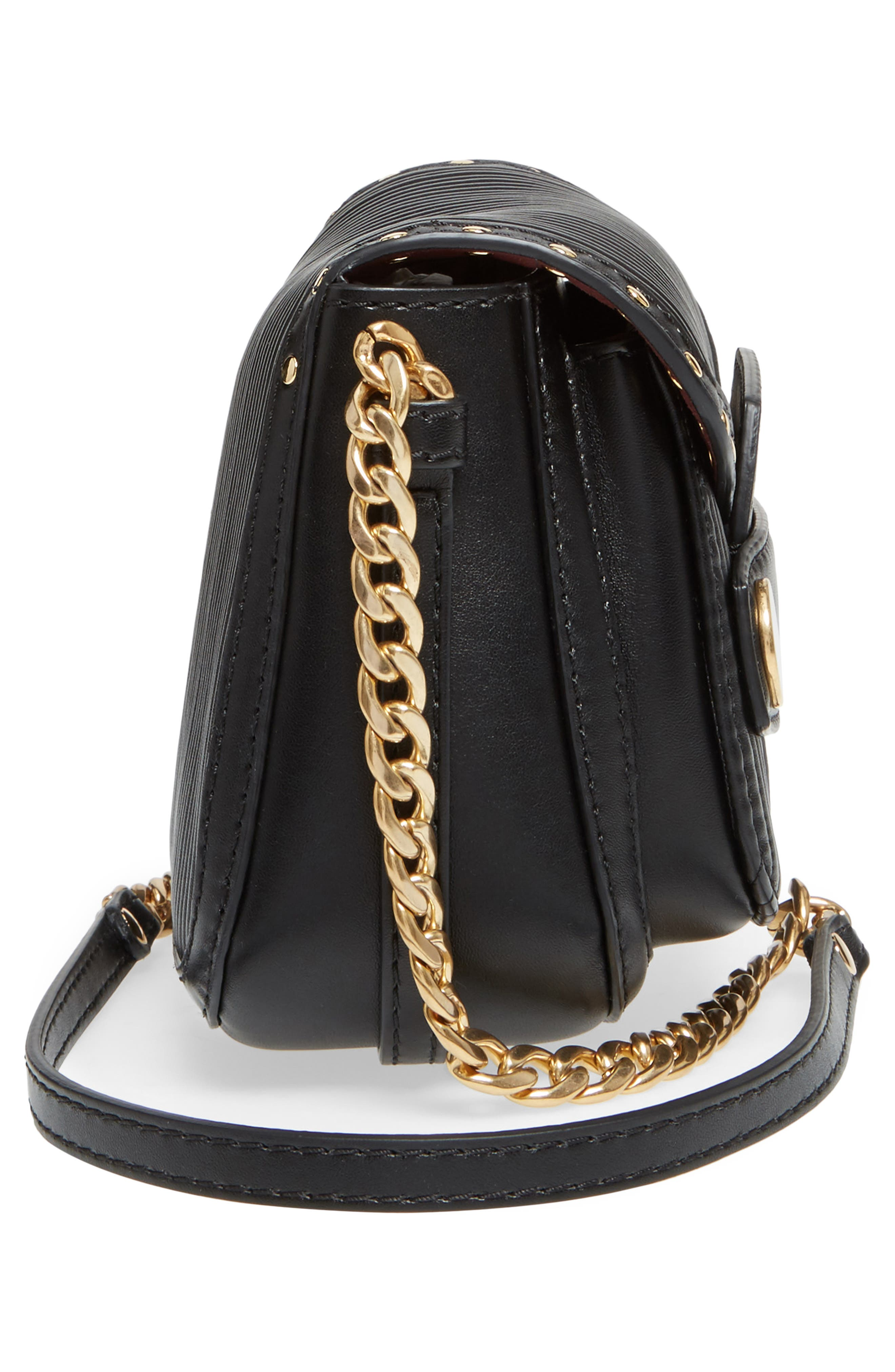 Quilted Faux Leather Crossbody Bag,                             Alternate thumbnail 3, color,                             Black