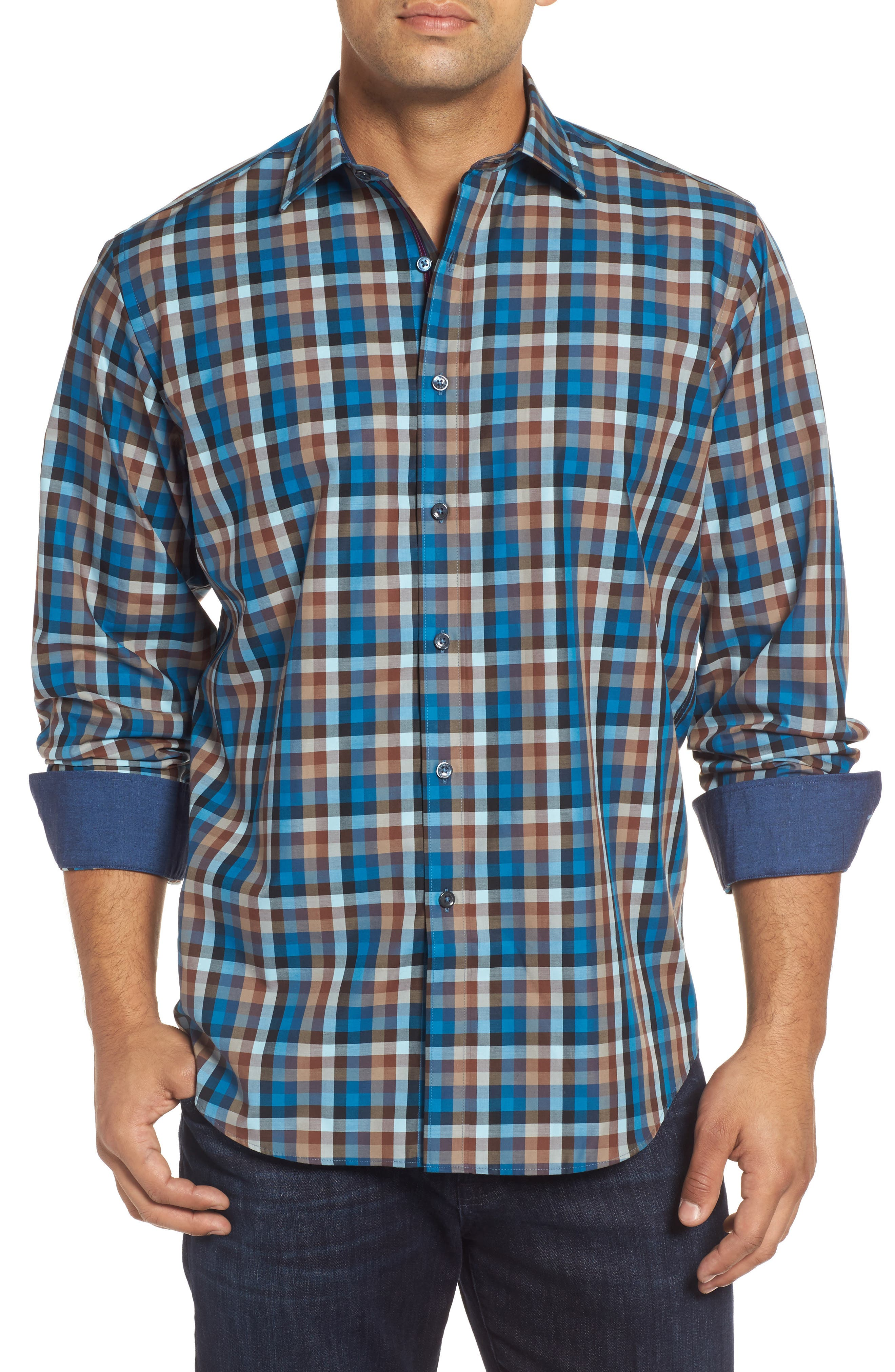 Classic Fit Twill Check Sport Shirt,                         Main,                         color, Mocha