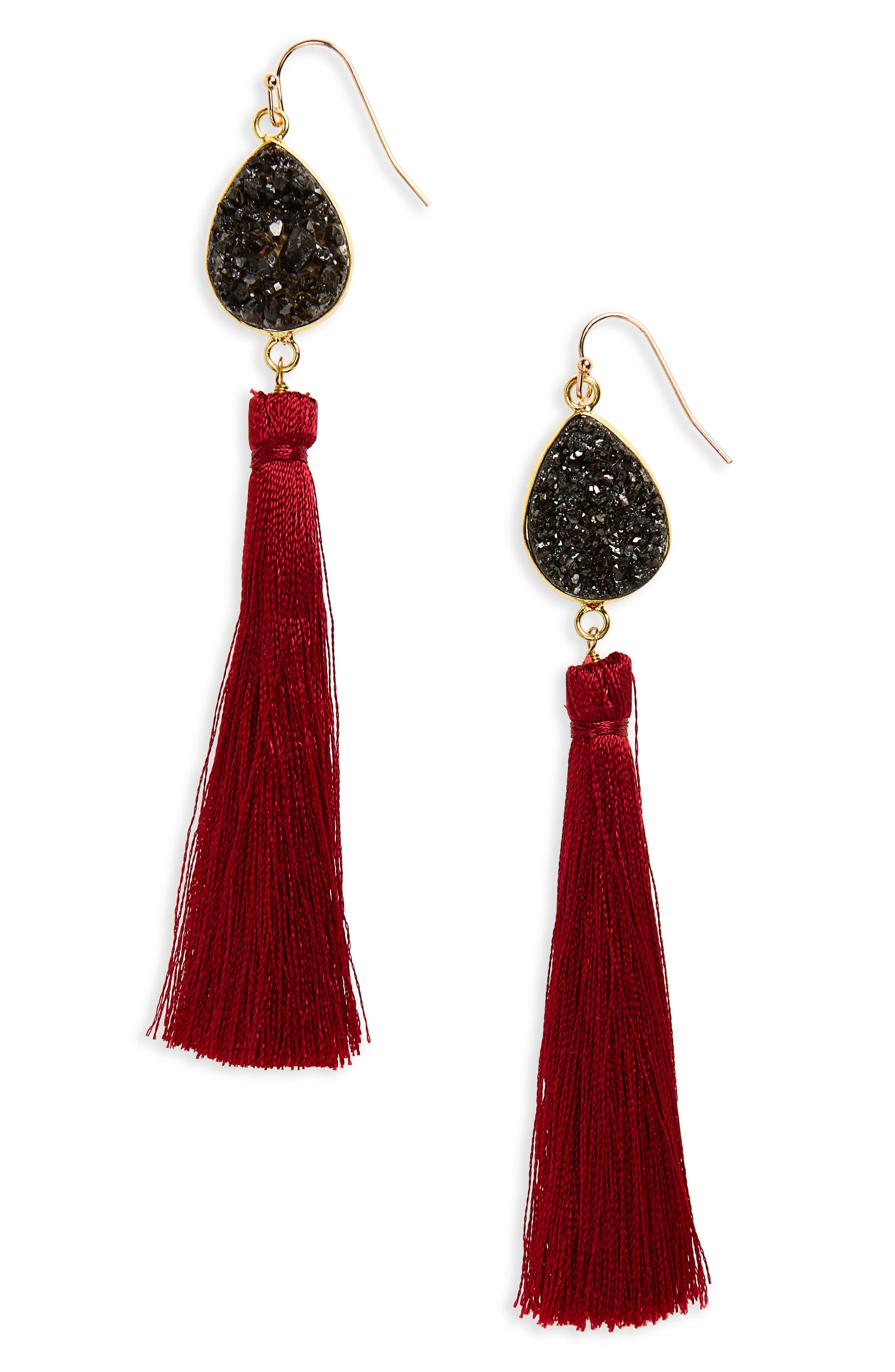 Drusy Tassel Earrings,                         Main,                         color, Multi