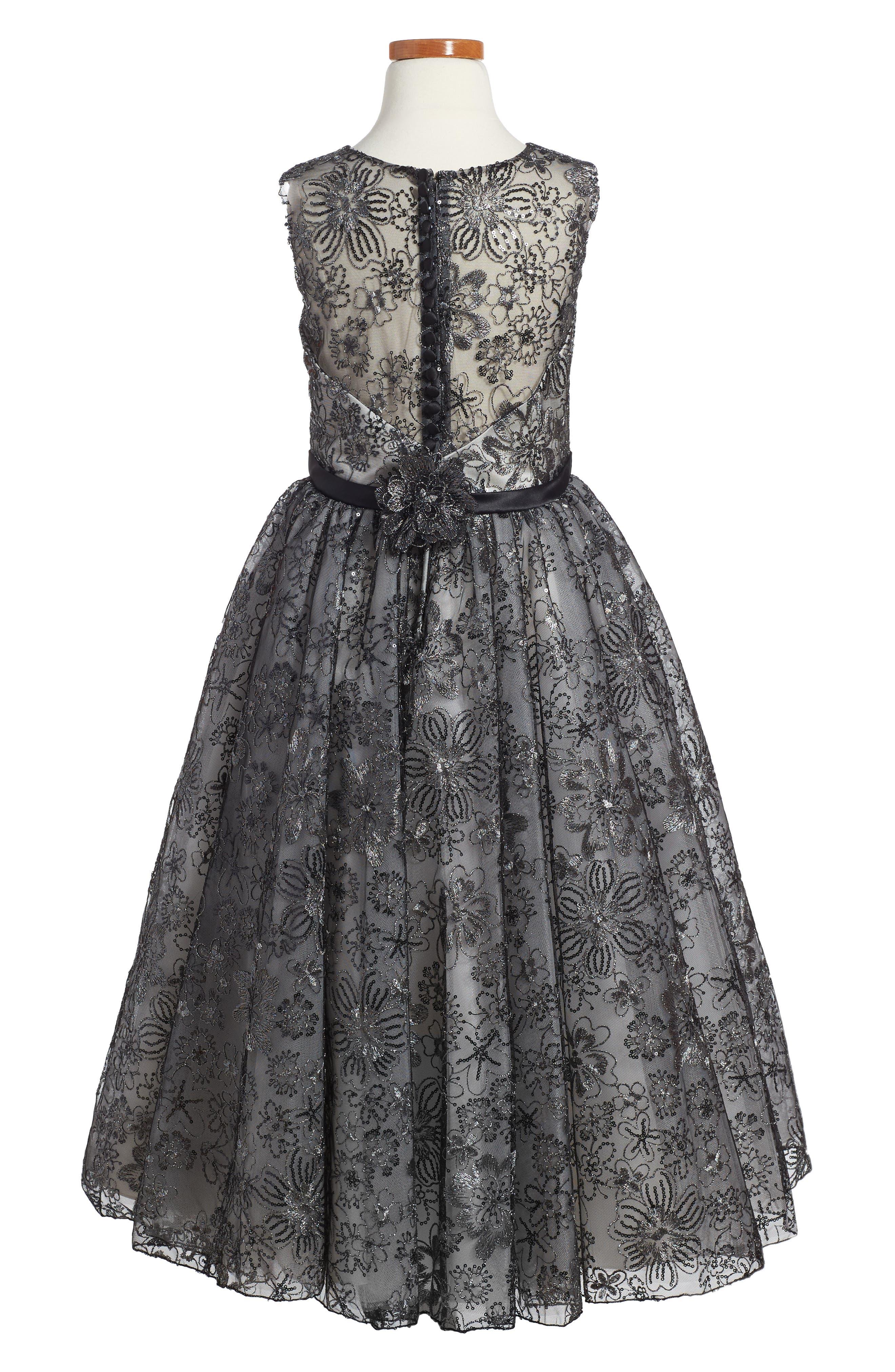 Sequin & Lace Dress,                             Alternate thumbnail 2, color,                             Black/ Ivory