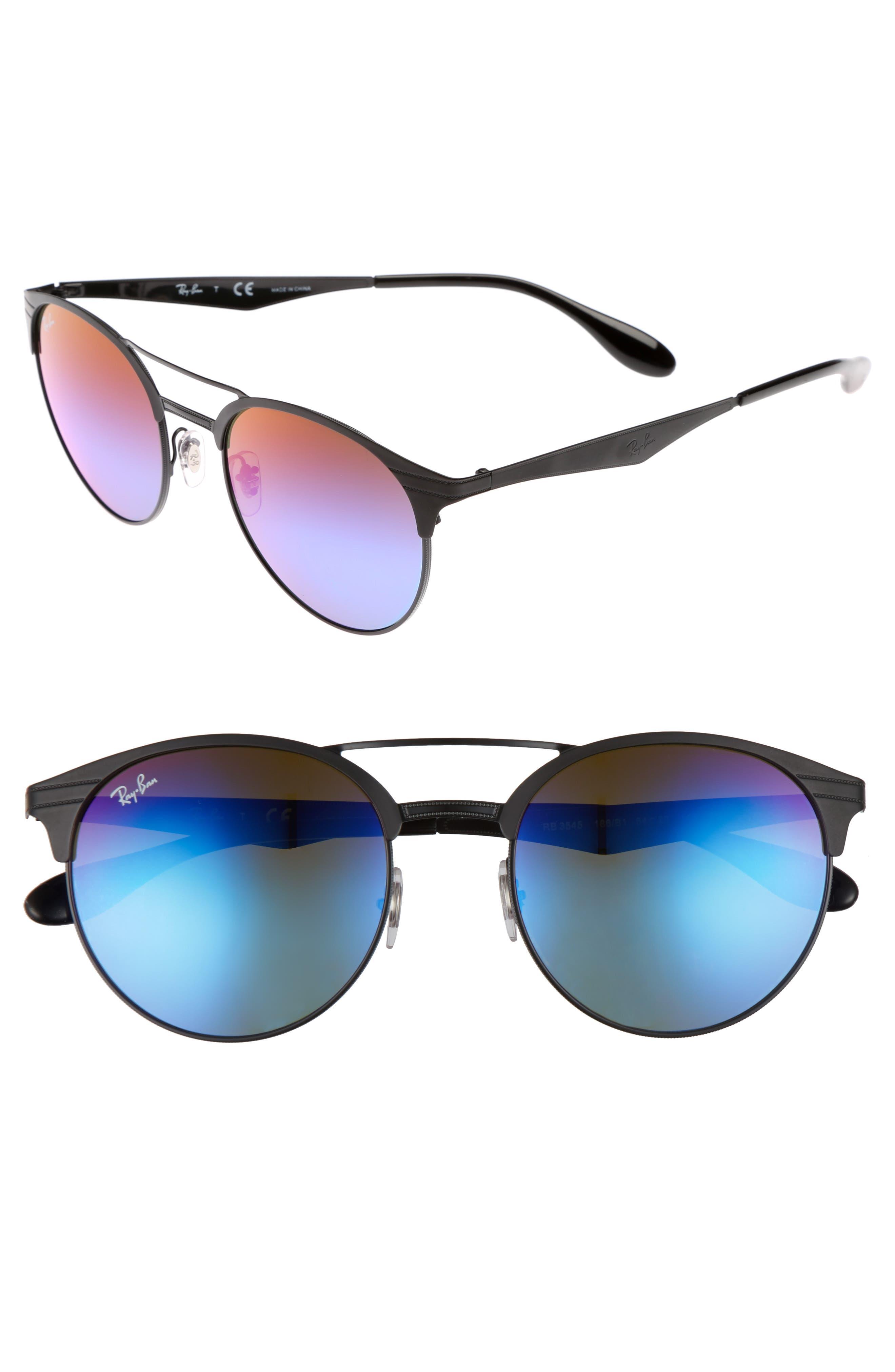 Highstreet 54mm Round Sunglasses,                             Main thumbnail 1, color,                             Black/ Blue/ Violet