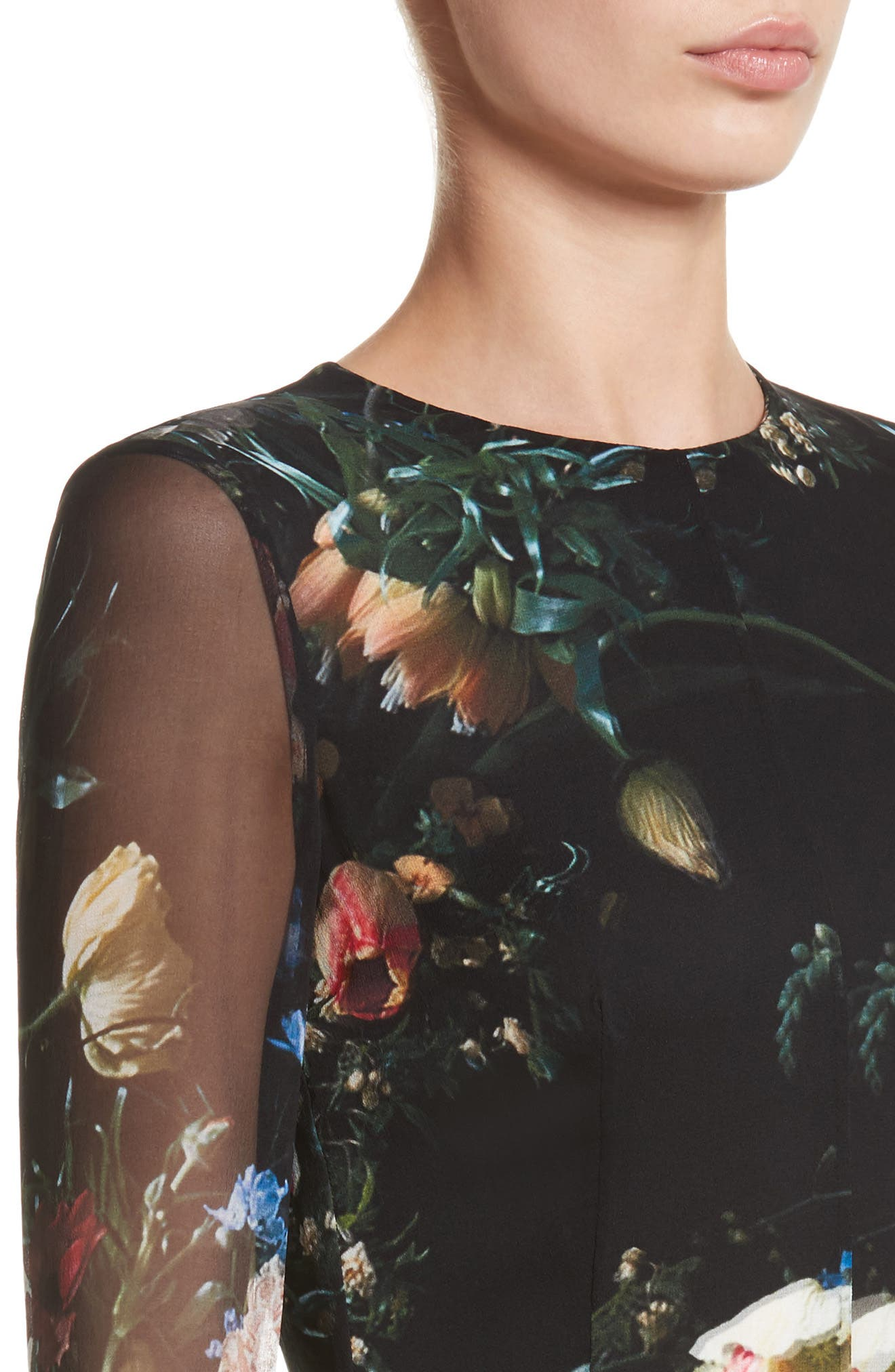 Floral Print Silk Minidress,                             Alternate thumbnail 4, color,                             Black