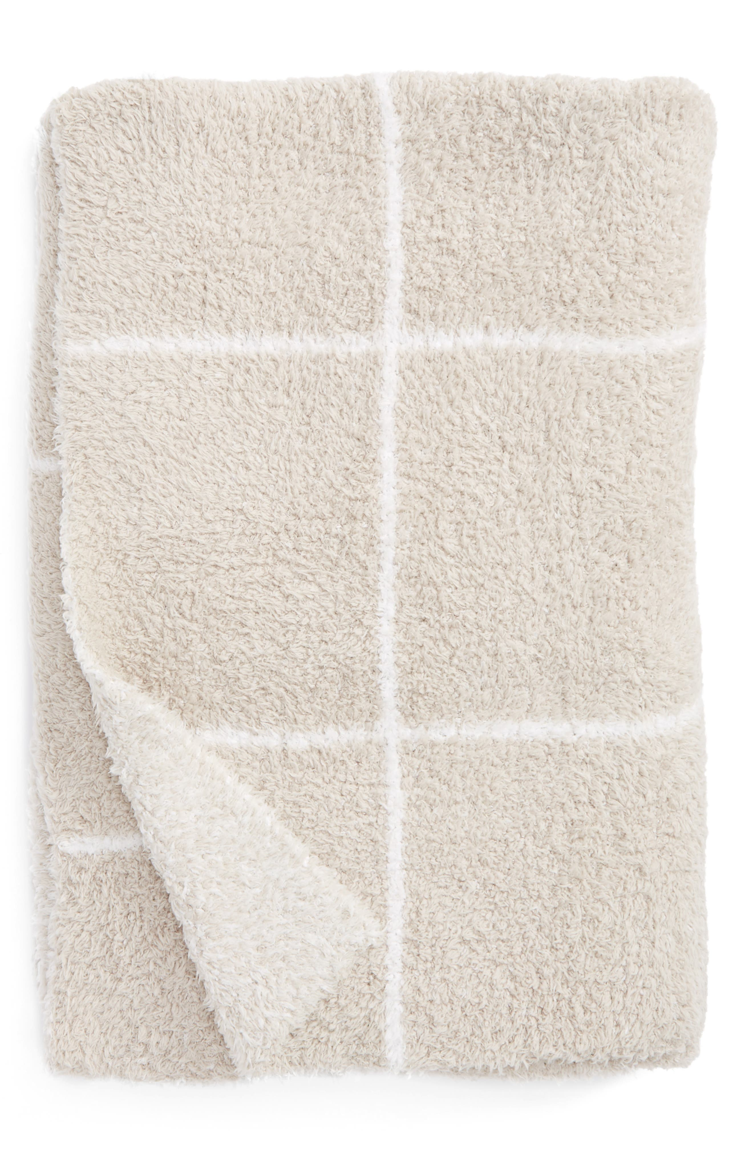 Cozychic<sup>®</sup> Windowpane Plaid Throw Blanket,                         Main,                         color, Stone/ White