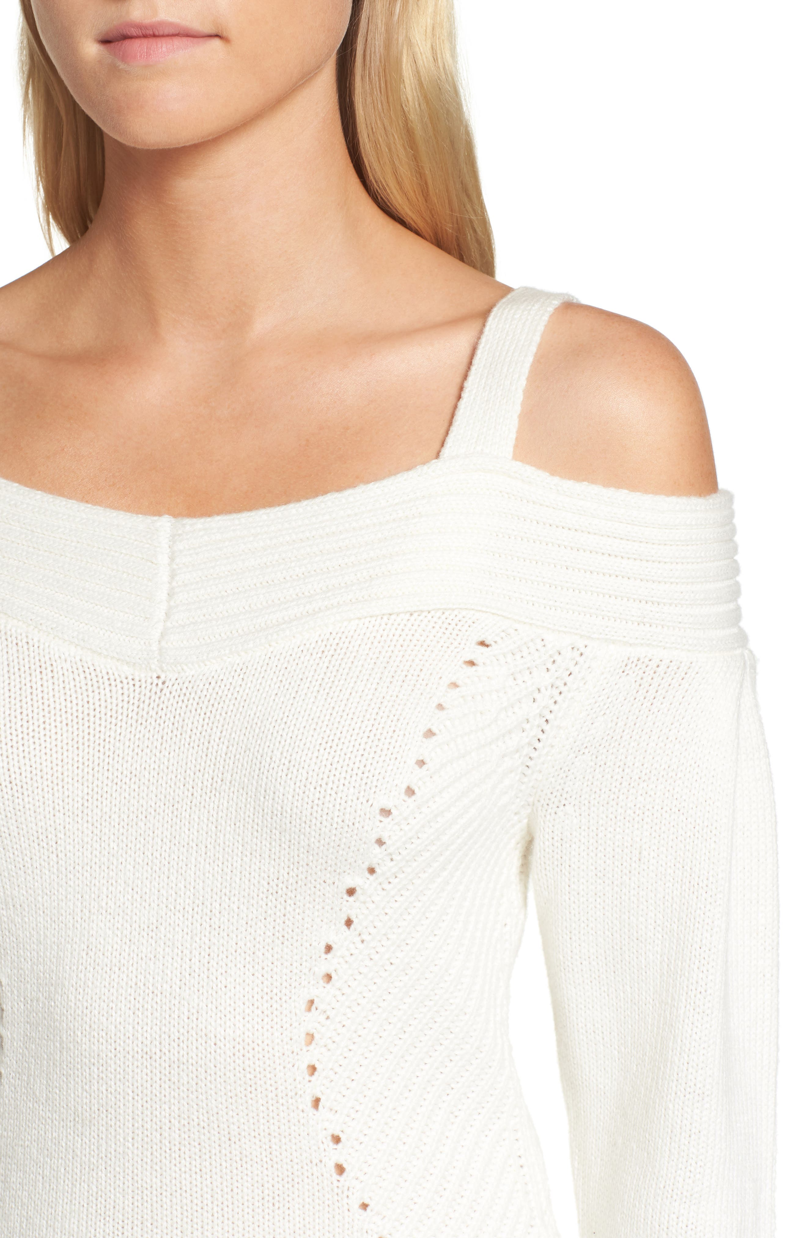 Chelsea 28 Cold Shoulder Sweater,                             Alternate thumbnail 4, color,                             Ivory