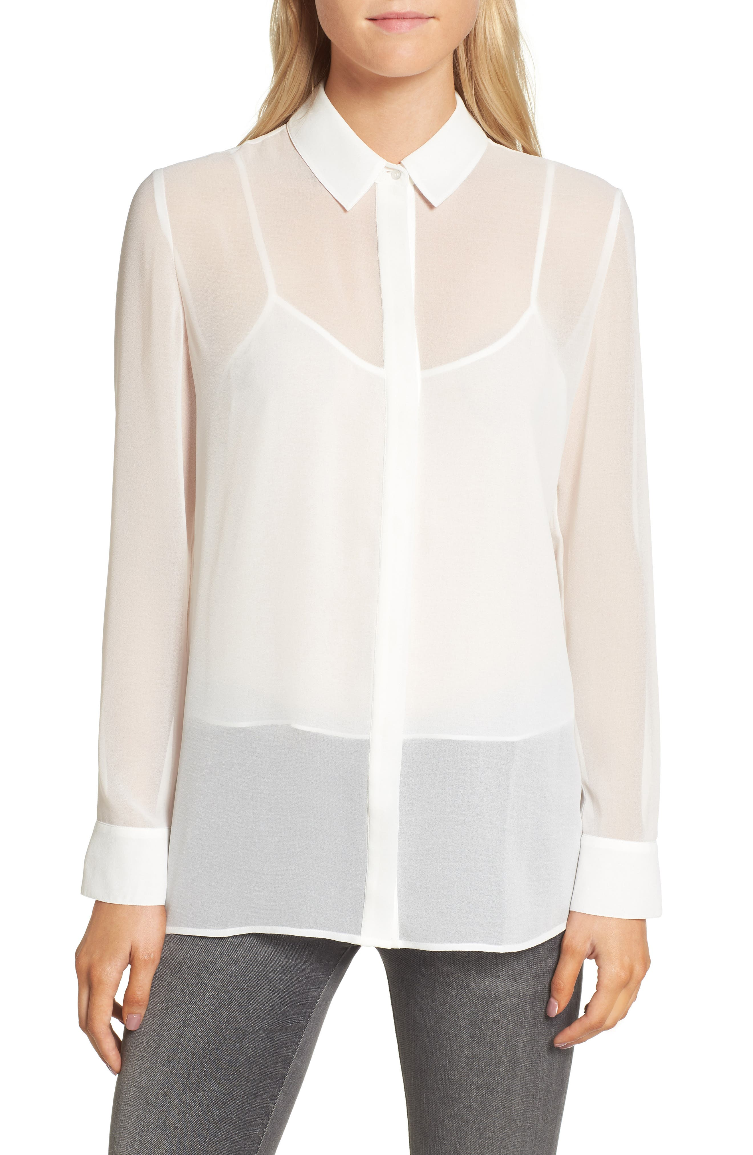 Layered Blouse,                         Main,                         color, Ivory Cloud