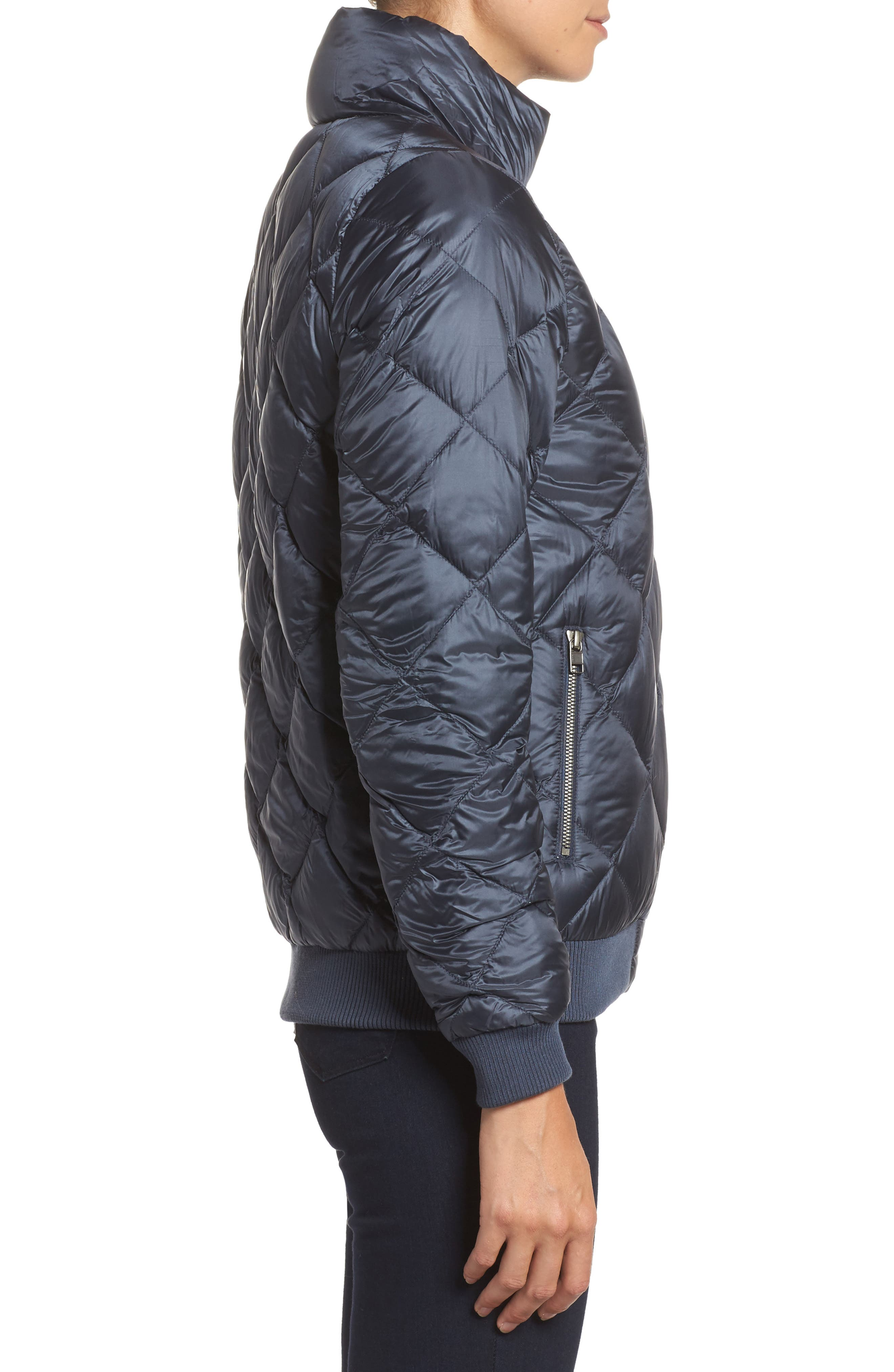 Prow Down Bomber Jacket,                             Alternate thumbnail 3, color,                             Smolder Blue