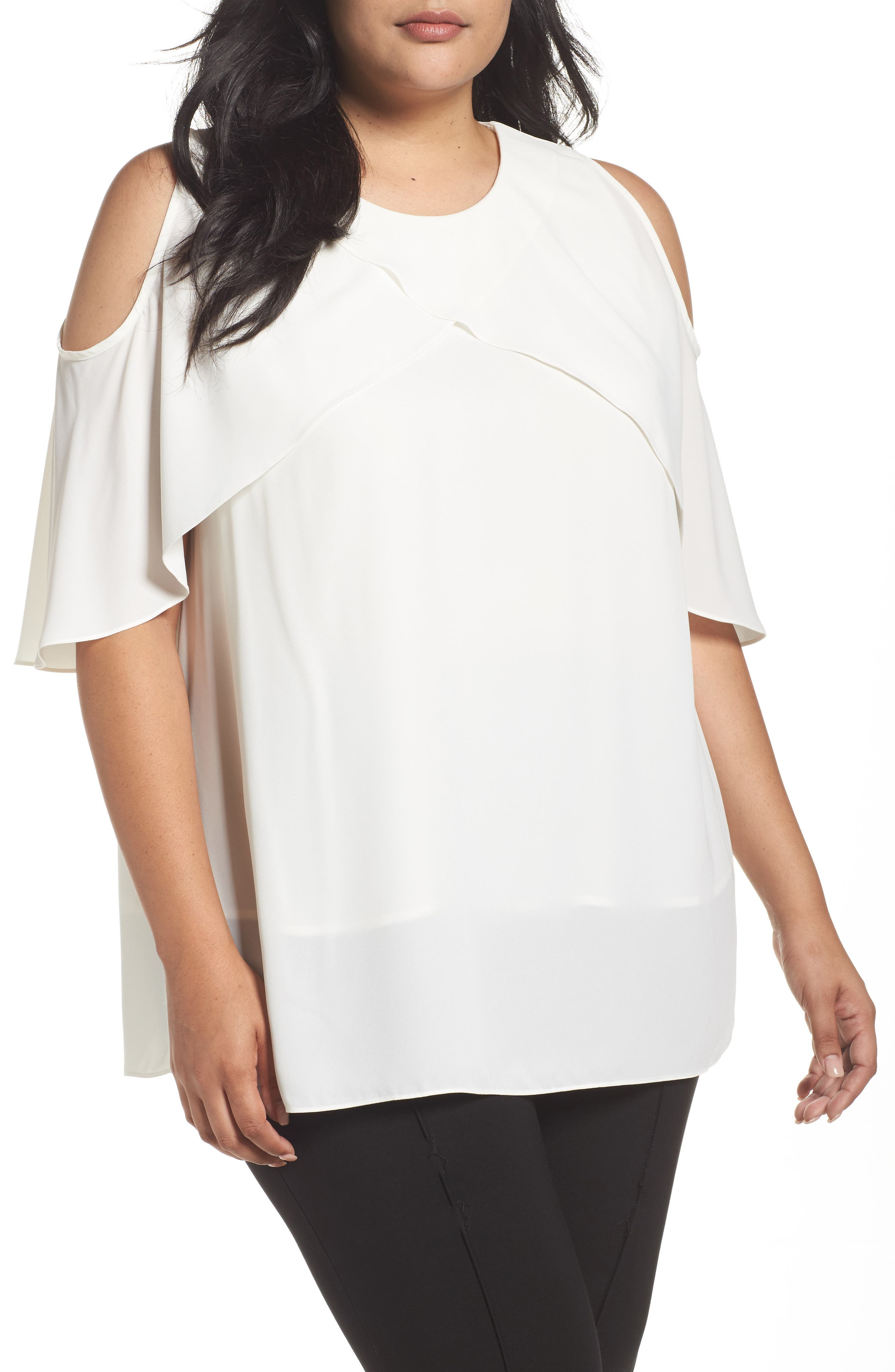 Main Image - Vince Camuto Cold Shoulder Ruffled Blouse (Plus Size)