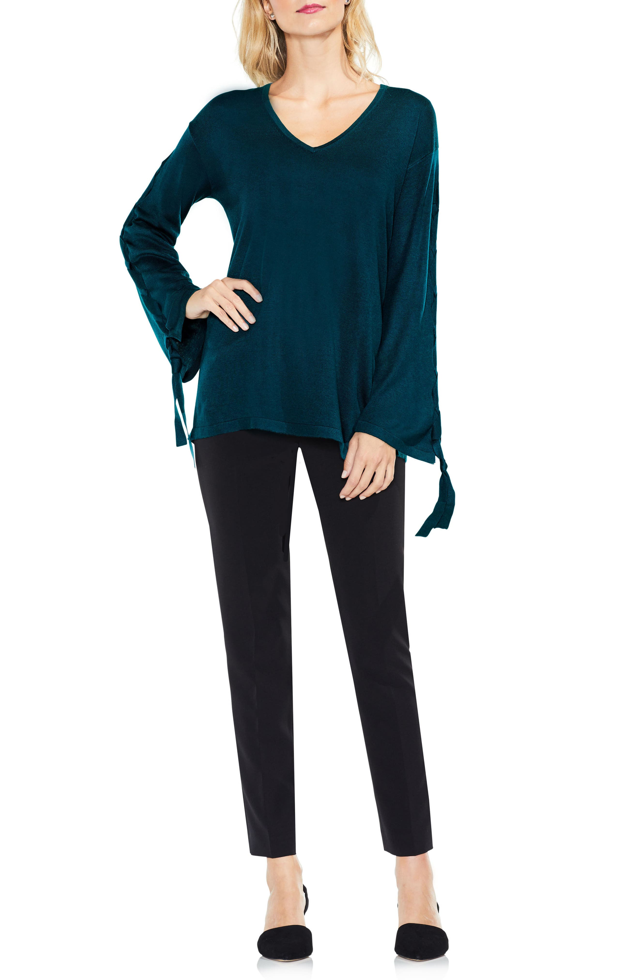 Alternate Image 2  - Vince Camuto Lace-Up Bell Sleeve Sweater (Regular & Petite)