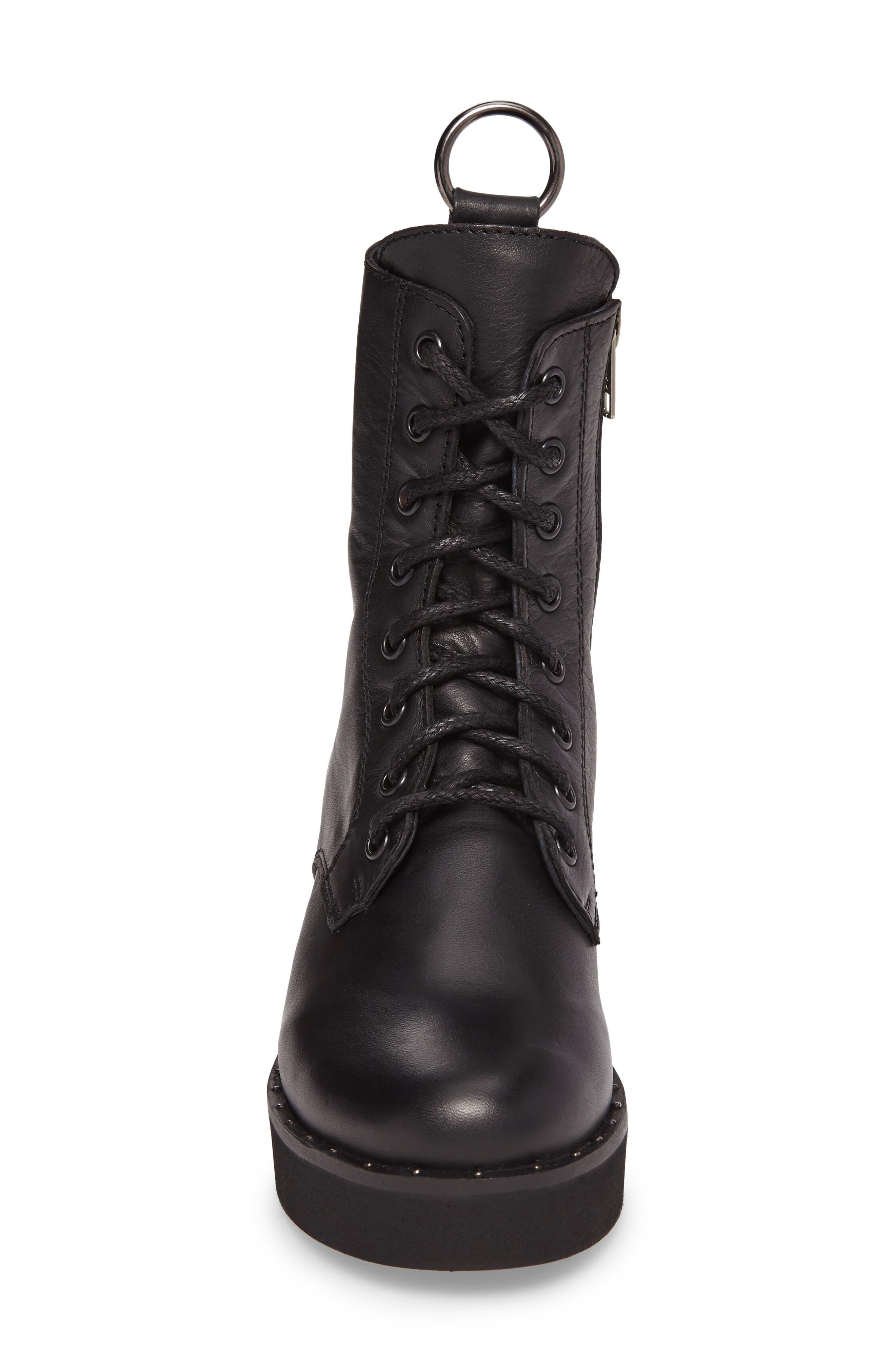 Rocco Combat Boot,                             Alternate thumbnail 4, color,                             Black Leather