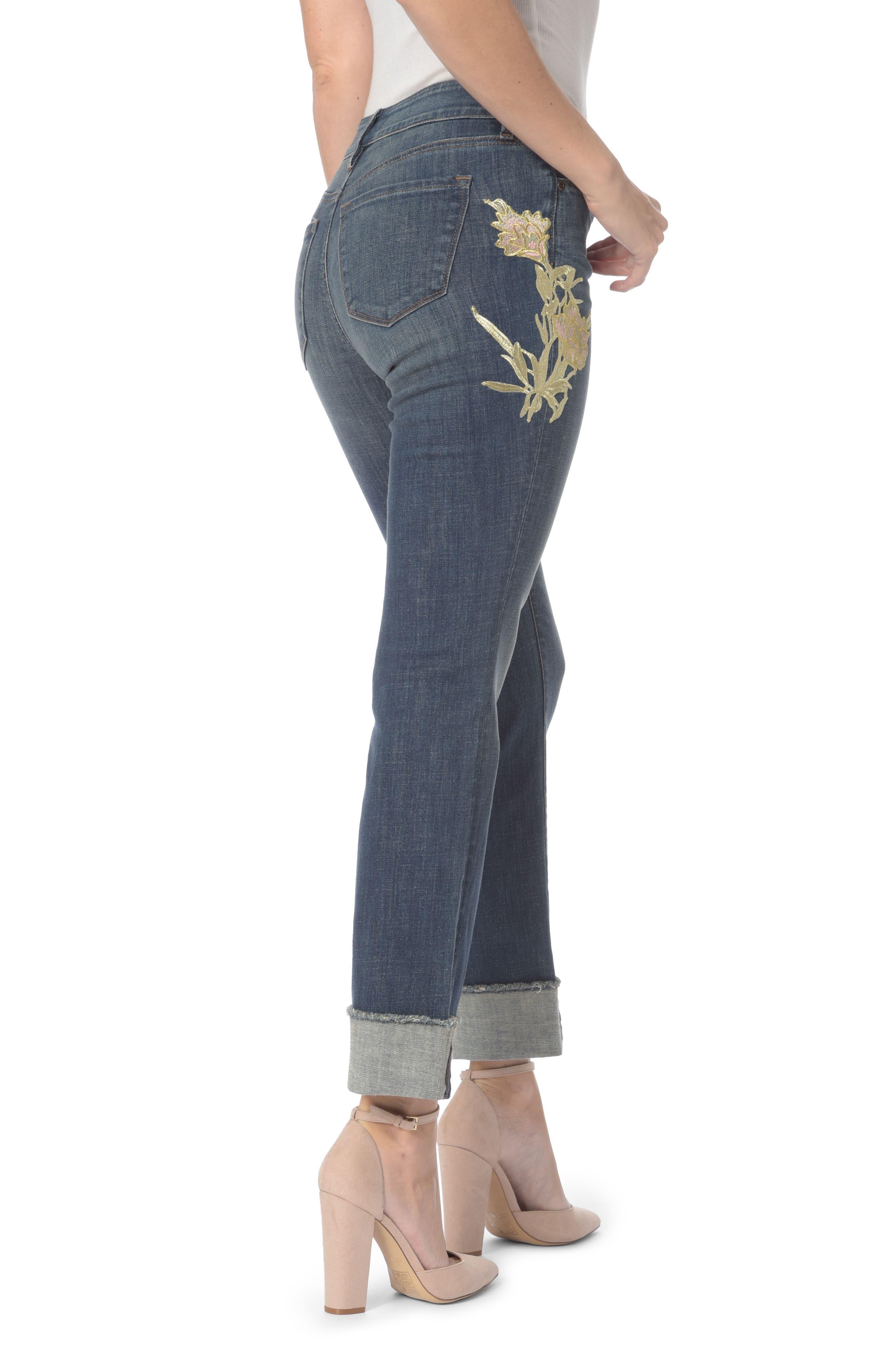Marilyn Appliqué Stretch Straight Leg Ankle Jeans,                             Alternate thumbnail 2, color,                             Desert Gold