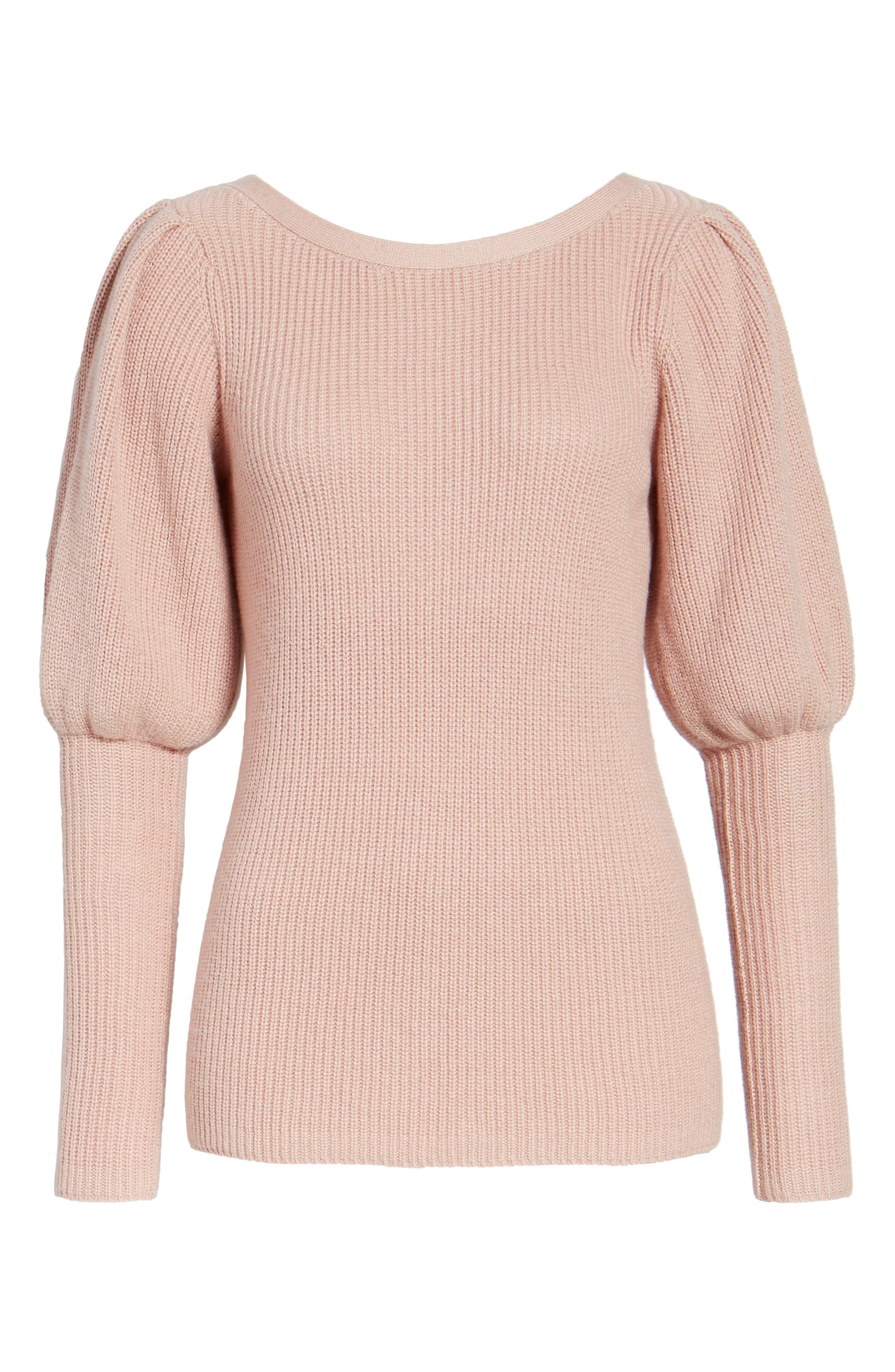 Puff Sleeve Sweatser,                             Alternate thumbnail 6, color,                             Pink Adobe