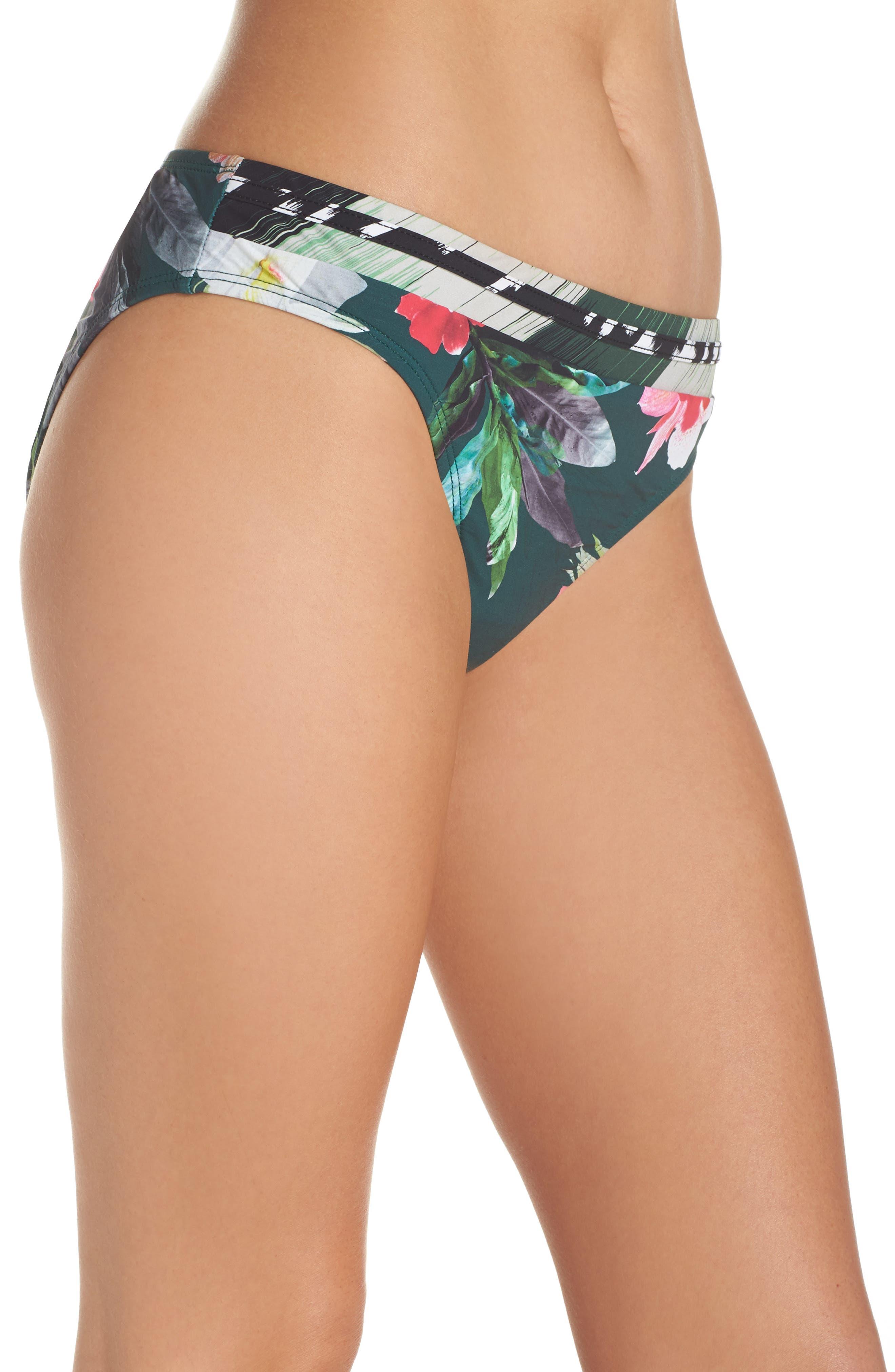 Jungle Floral Shirred Hipster Bikini Bottoms,                             Alternate thumbnail 3, color,                             Hunter