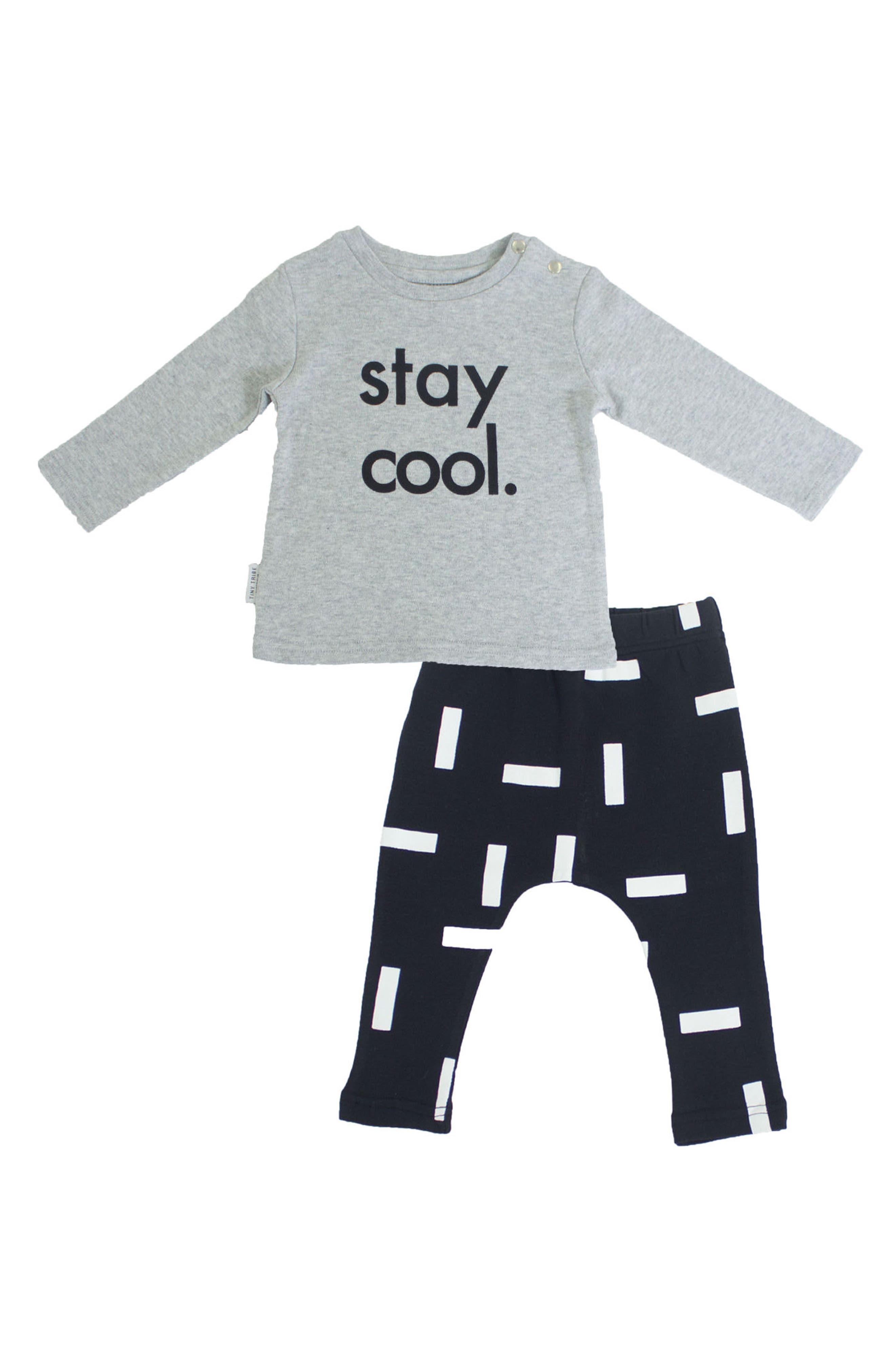 Stay Cool T-Shirt & Leggings Set,                         Main,                         color, Grey/ Black