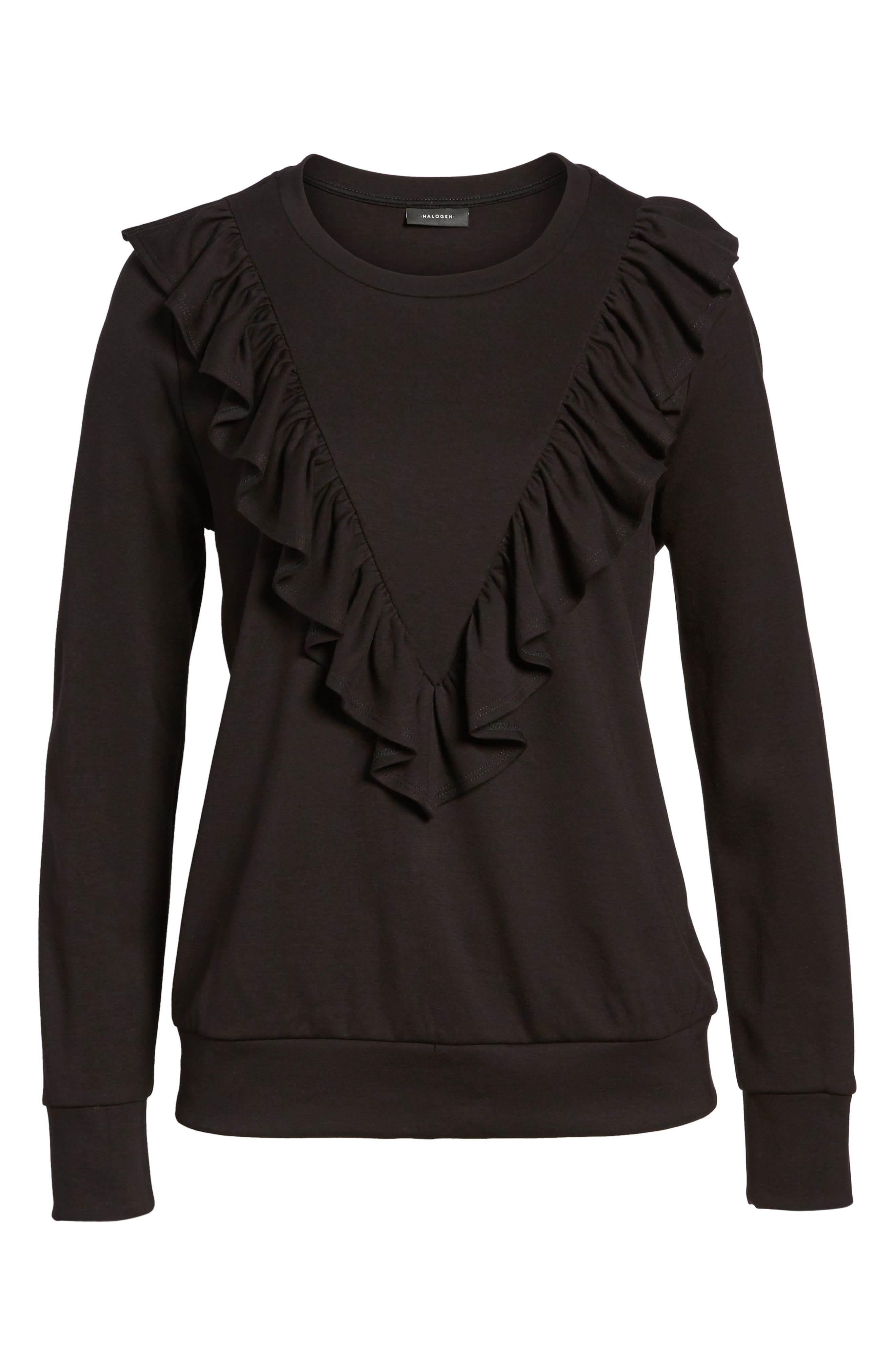 Ruffle Ponte Sweater,                             Alternate thumbnail 6, color,                             Black