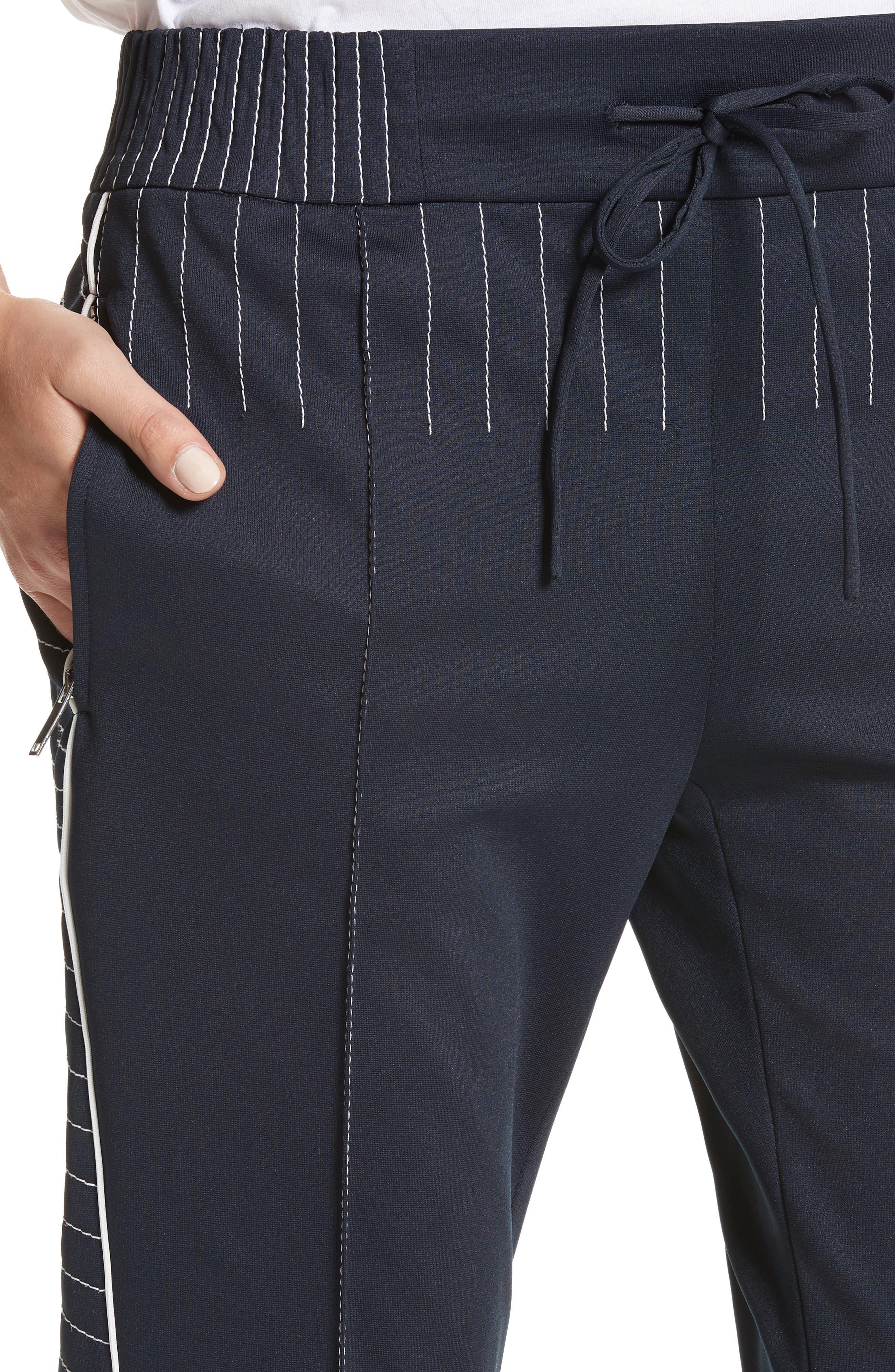 Techno Stretch Jersey Track Pants,                             Alternate thumbnail 4, color,                             Navy