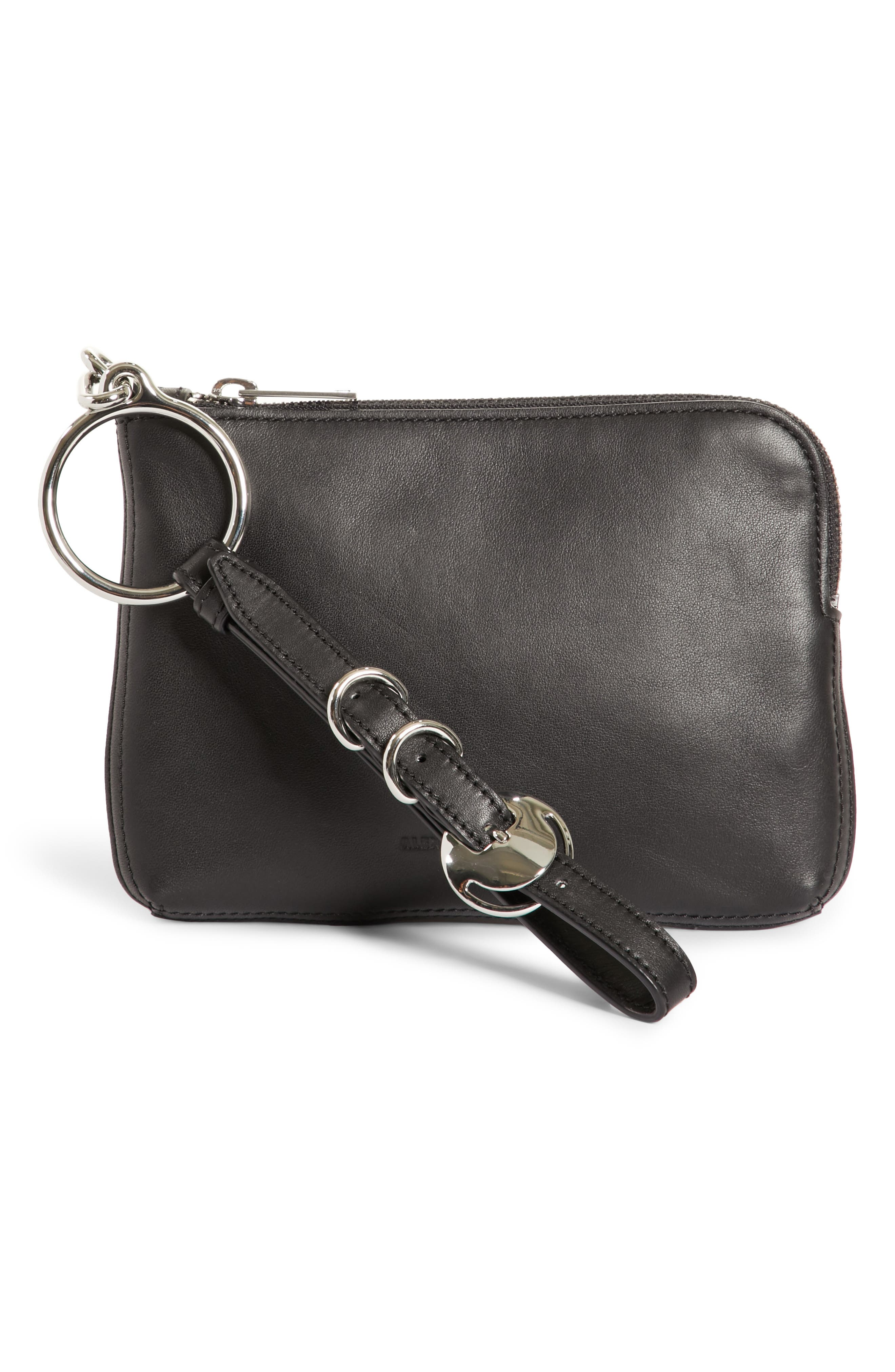 Small Ace Nappa Leather Wristlet,                         Main,                         color, Black