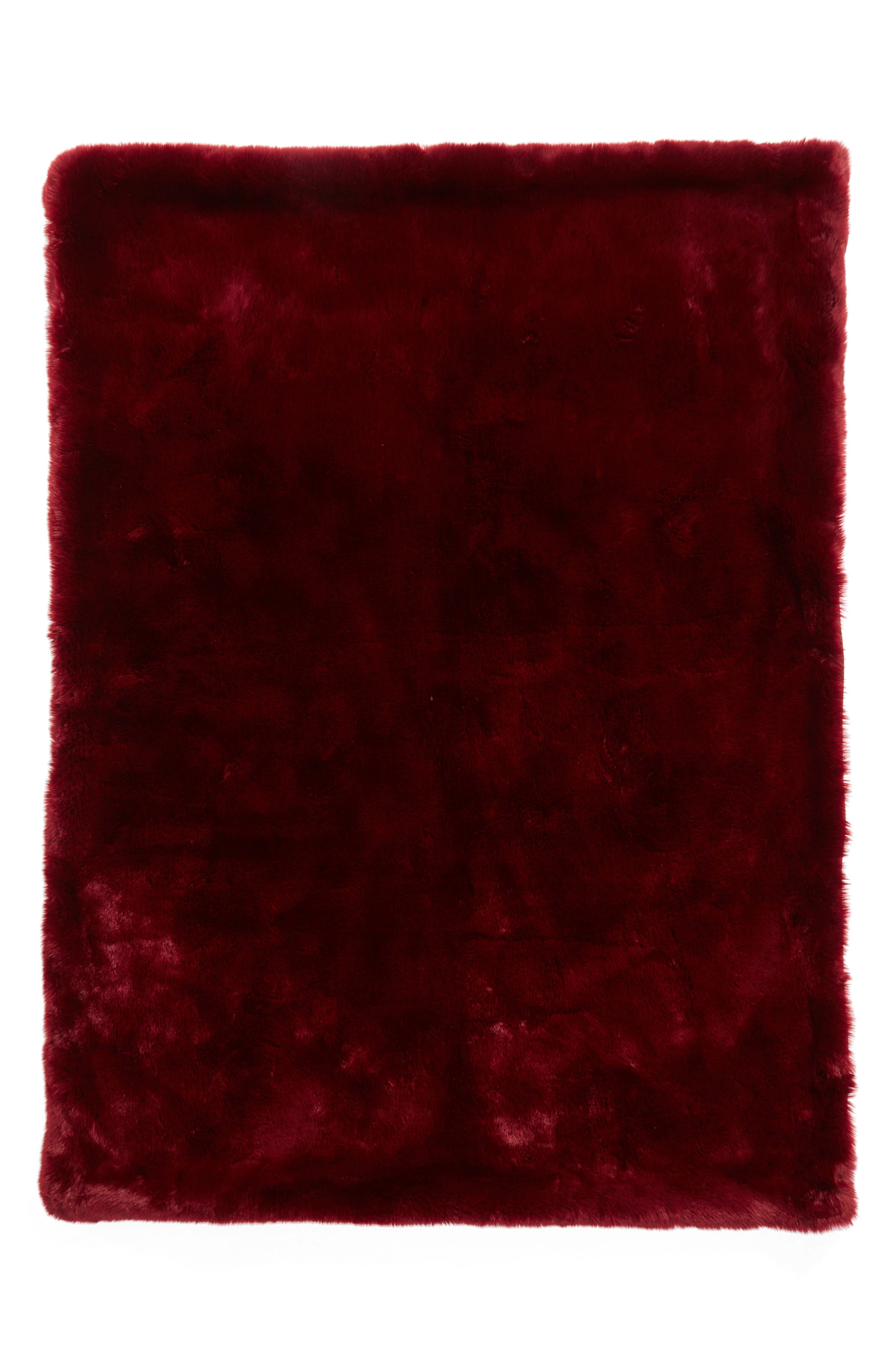 Cuddle Up Faux Fur Throw Blanket,                             Main thumbnail 1, color,                             Red Pomegranite