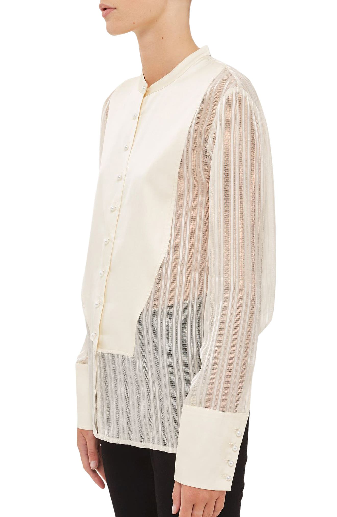 Alternate Image 4  - Topshop Satin Bib Shirt