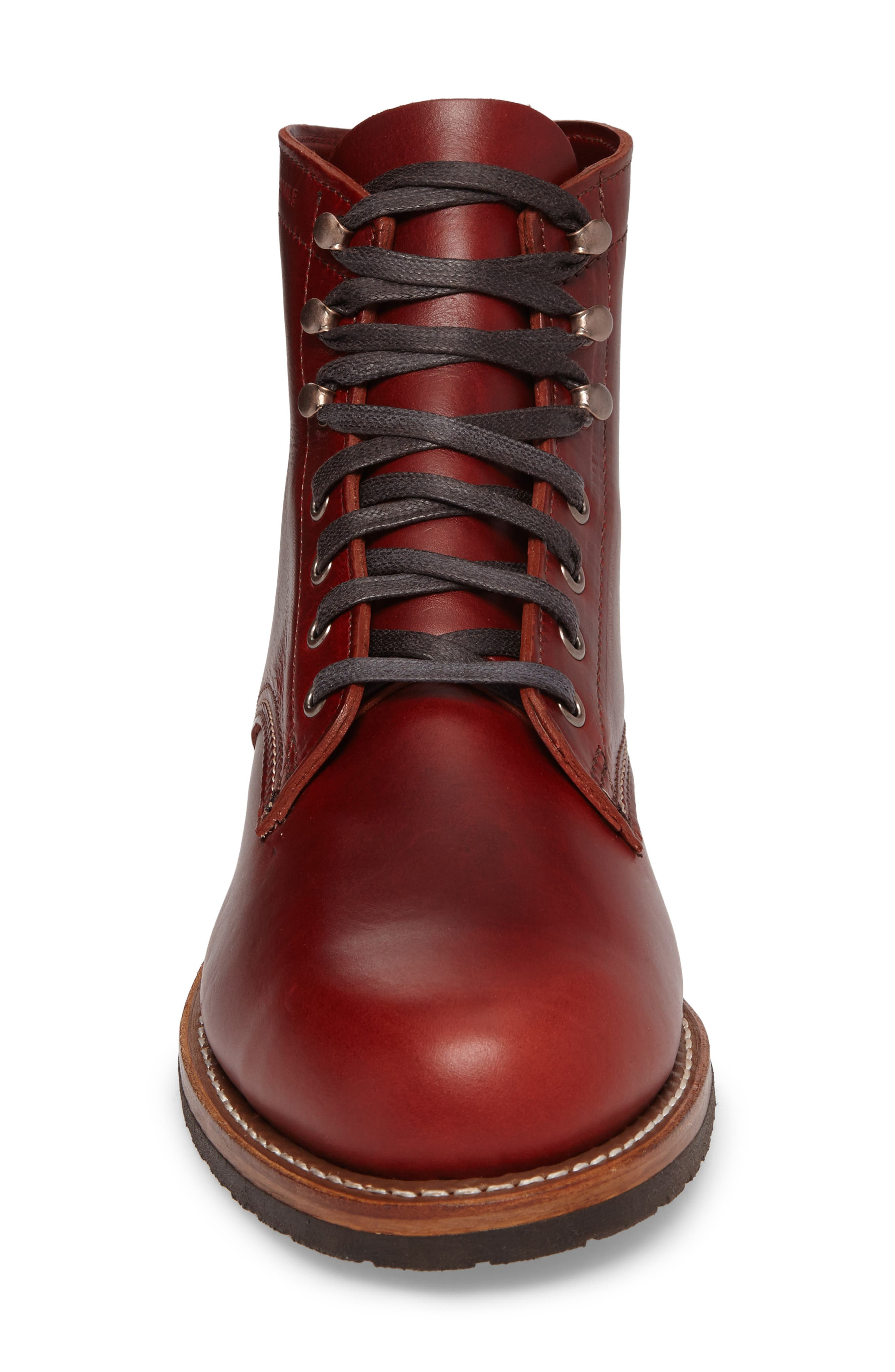 Evans Plain Toe Boot,                             Alternate thumbnail 4, color,                             Red Leather